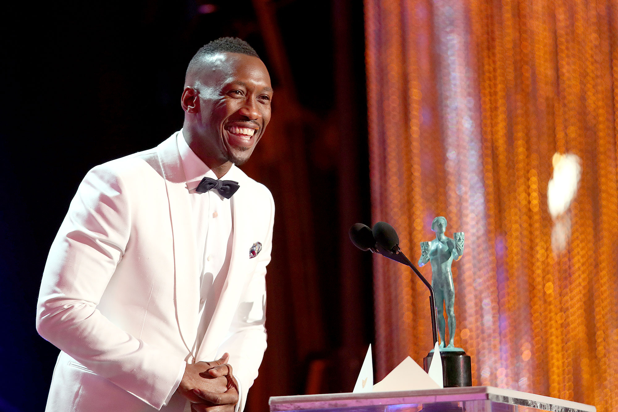 Mahershala Ali, accepting the award for Male Actor in a Supporting Role, during The 23rd Annual Screen Actors Guild Awards at The Shrine Auditorium on January 29, 2017 in Los Angeles, California.