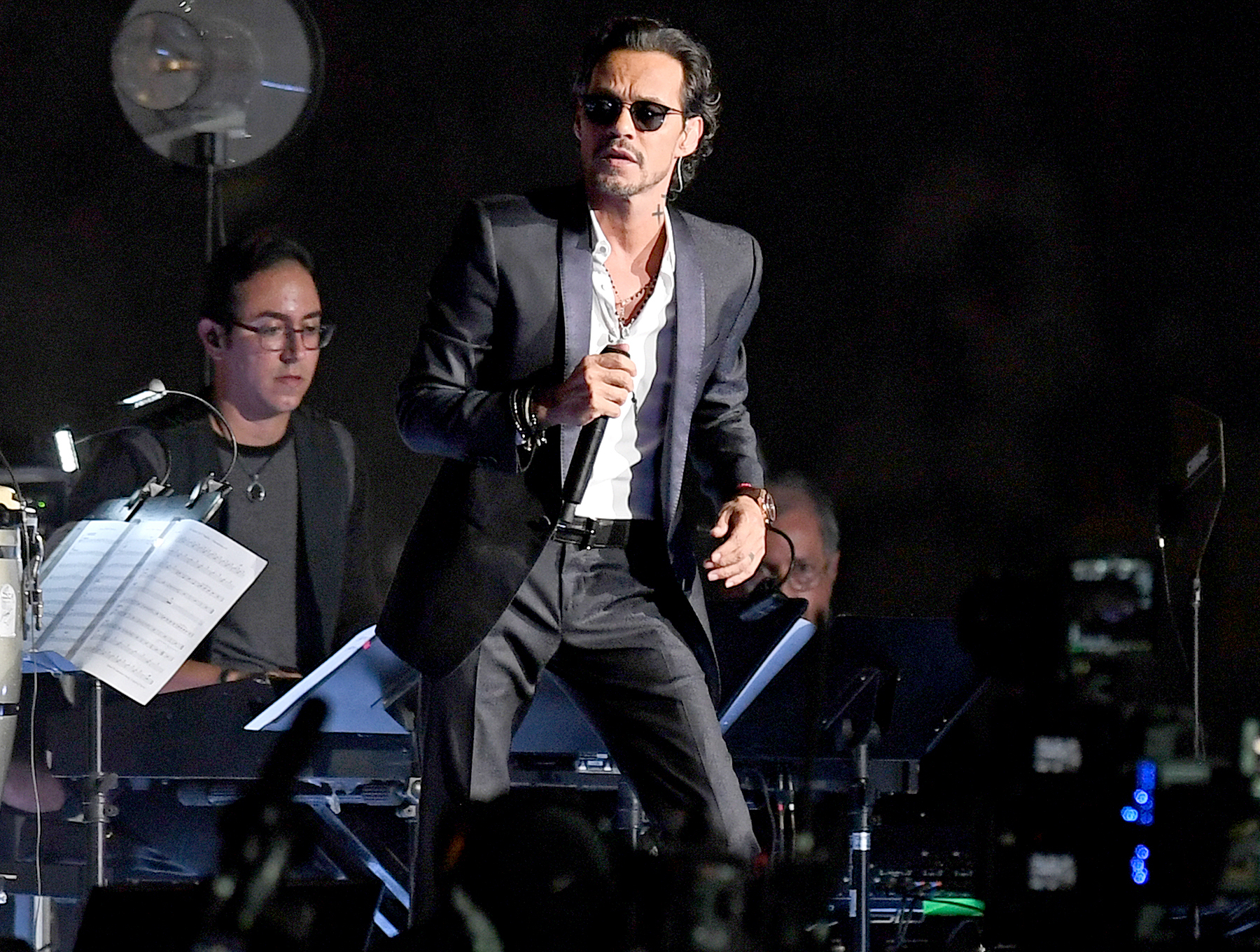 Marc Anthony performs during half time as Barcelona Vs Real Madrid at the International Champions Cup friendly match at Hard Rock Stadium on July 29, 2017.