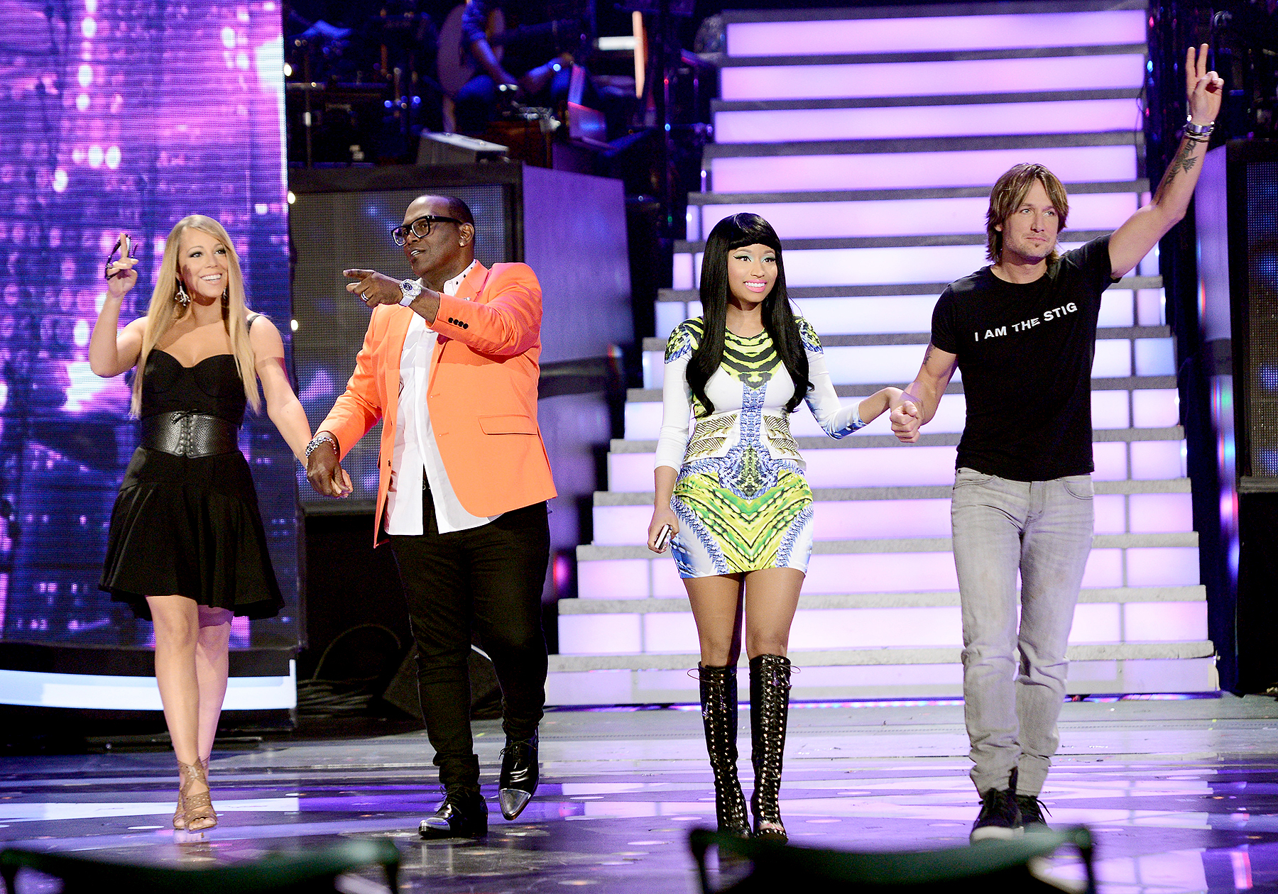 "Mariah Carey, Randy Jackson, Nicki Minaj and Keith Urban onstage at FOX's ""American Idol"" Season 12 Top 4 to 3 Live Performance Show on May 1, 2013 in Hollywood, California."