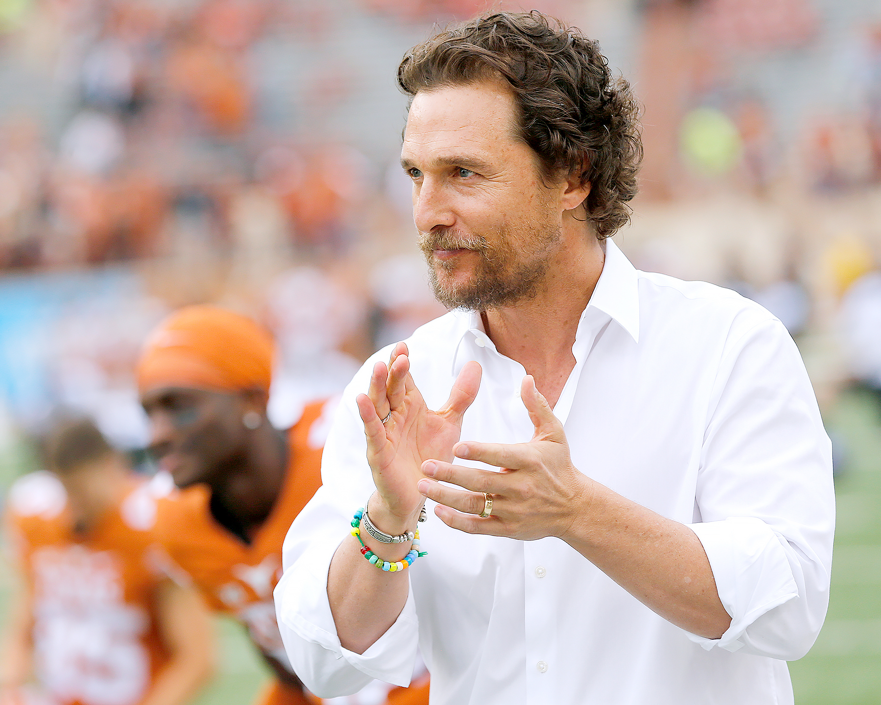 Matthew McConaughey encourages the Texas Longhorns before the game against the TCU Horned Frogs at Darrell K Royal -Texas Memorial Stadium on November 25, 2016 in Austin, Texas.