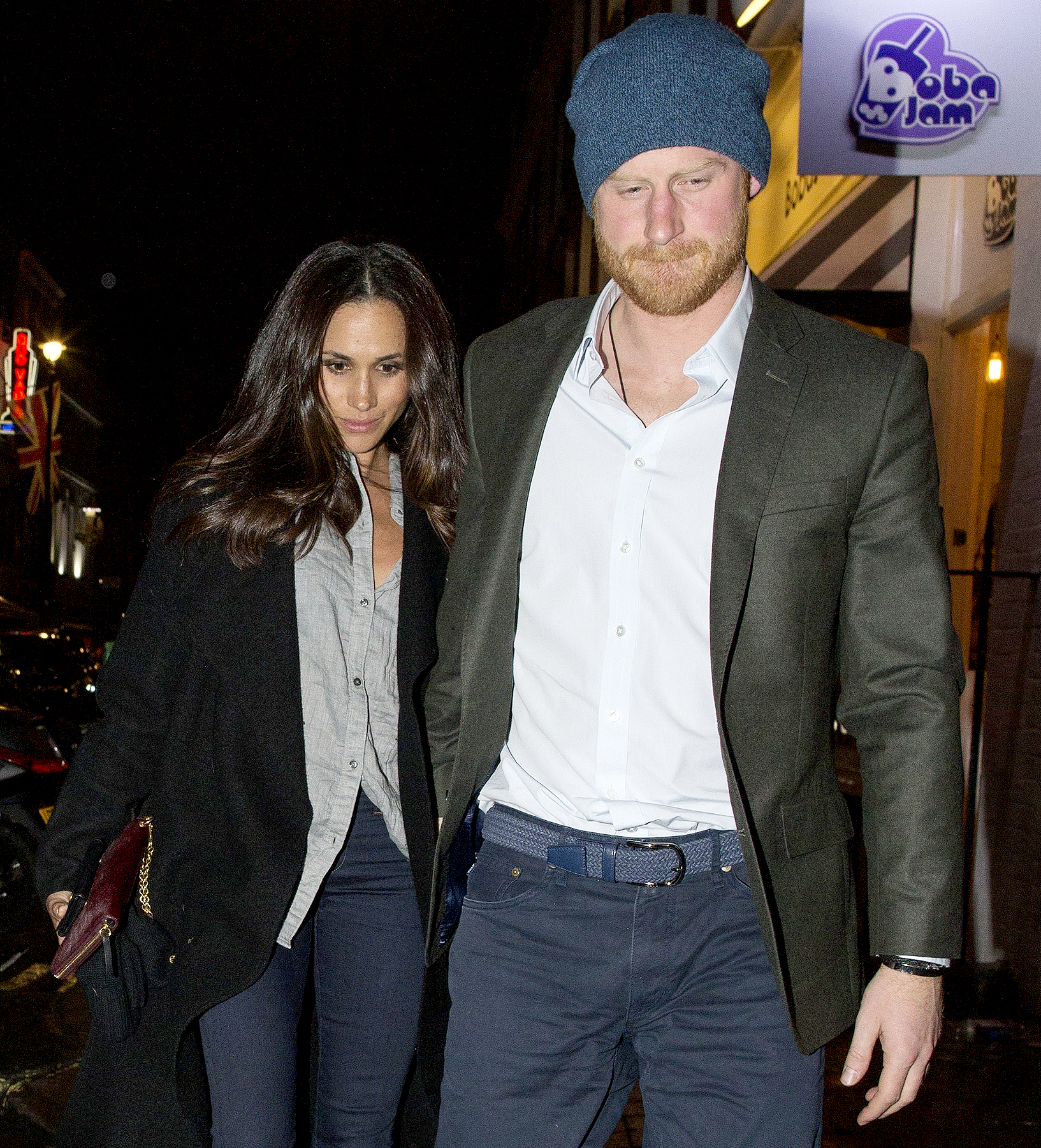 Prince Harry of Wales and Meghan Markle hold hands together on a date night while out in London, England on February 3, 2017.