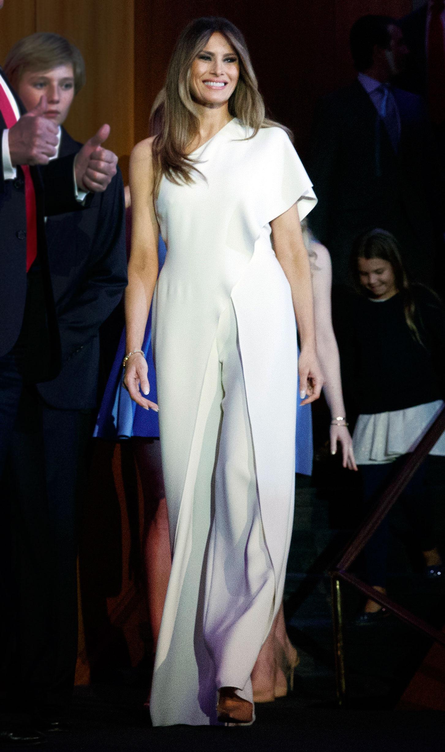198471d60e8 Melania Trump Wears White Jumpsuit on Election Night  Photos