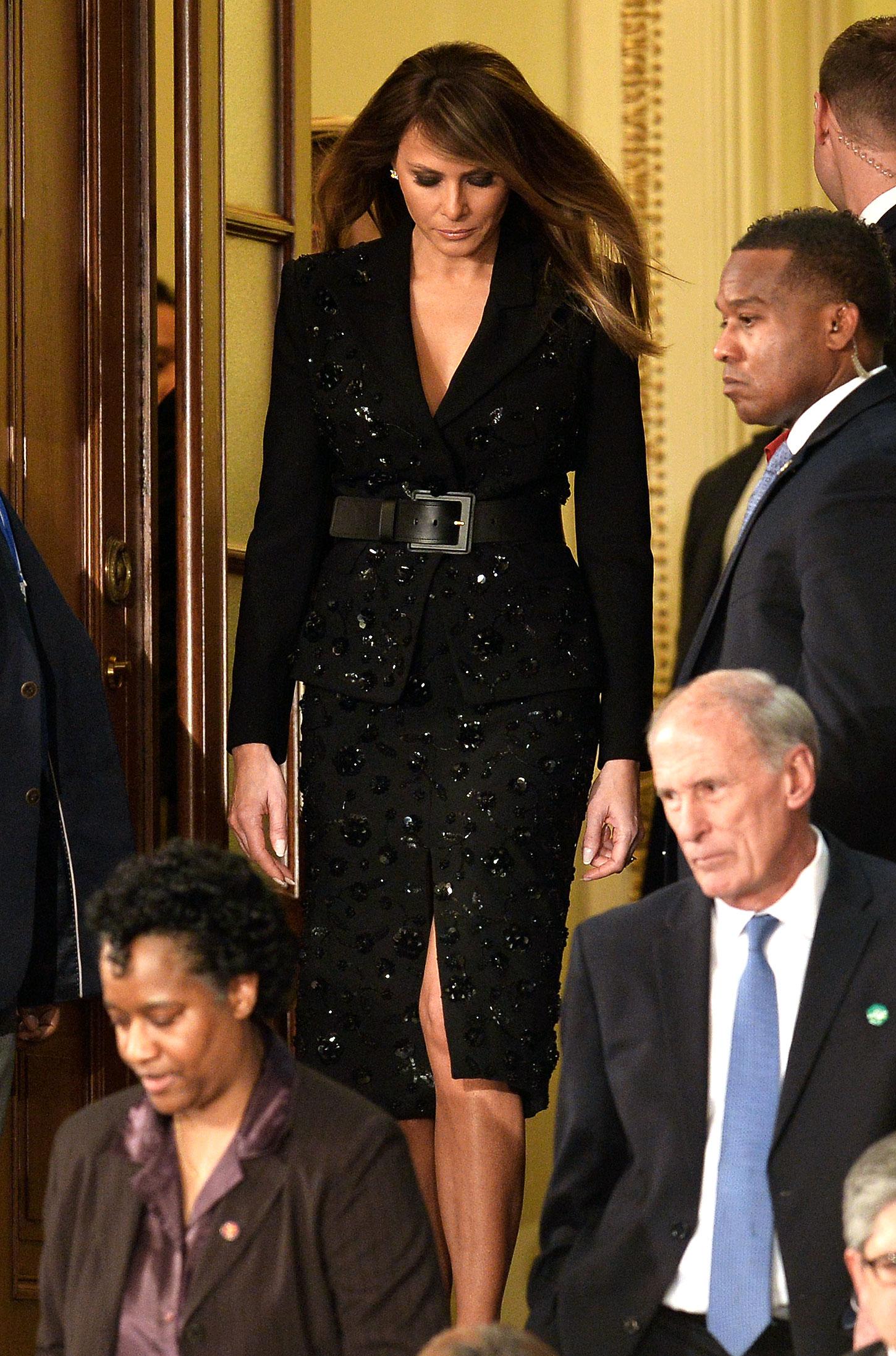 Imagini pentru melania black skirt suit