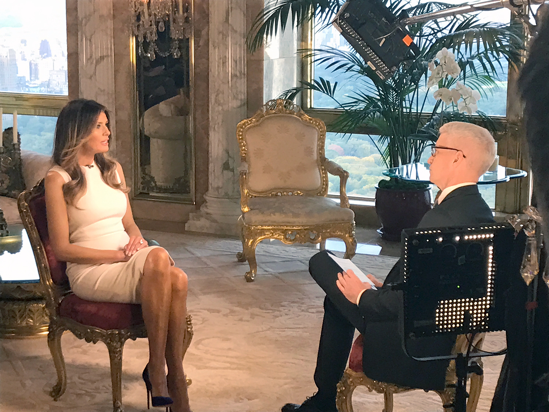 Melania Trump and Anderson Cooper
