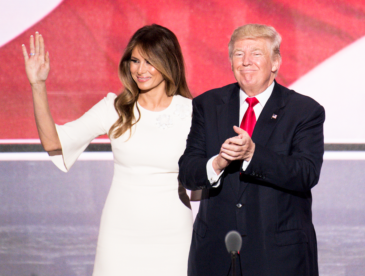 Donald Trump is joined on stage by his wife Melania Trump after delivering his acceptance speech at the 2016 Republican National Convention in Cleveland, Ohio on Thursday, July 21, 2016.