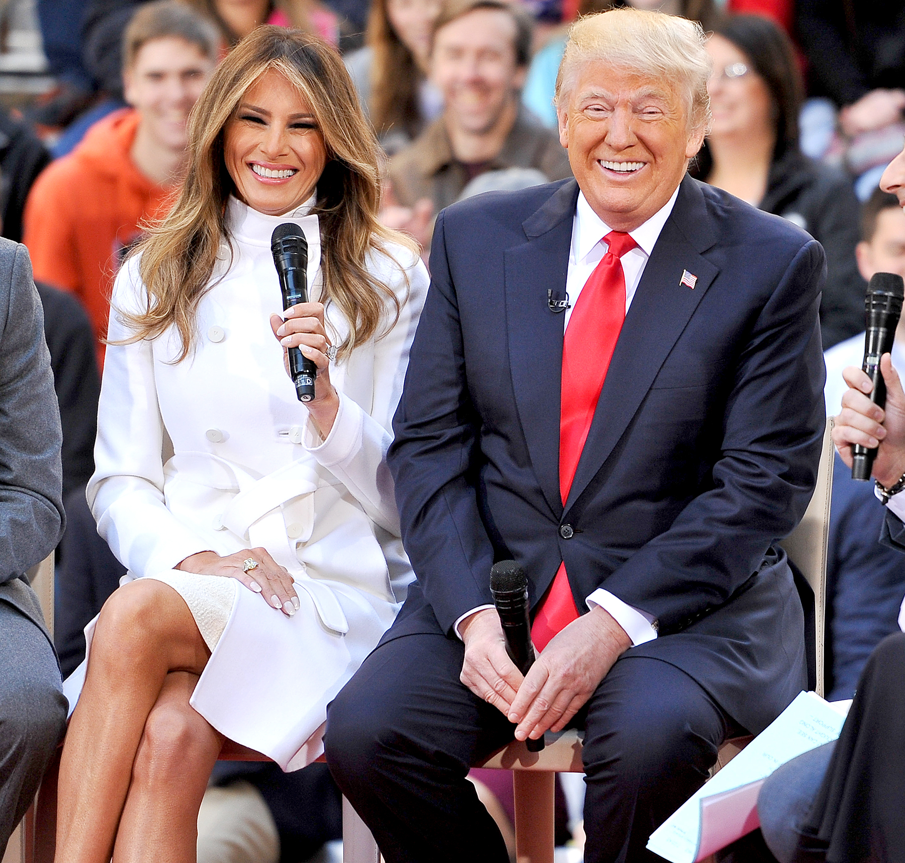 Donald Trump and wife Melania Trump attend NBC's Today Trump Town Hall at Rockefeller Plaza on April 21, 2016 in New York City.