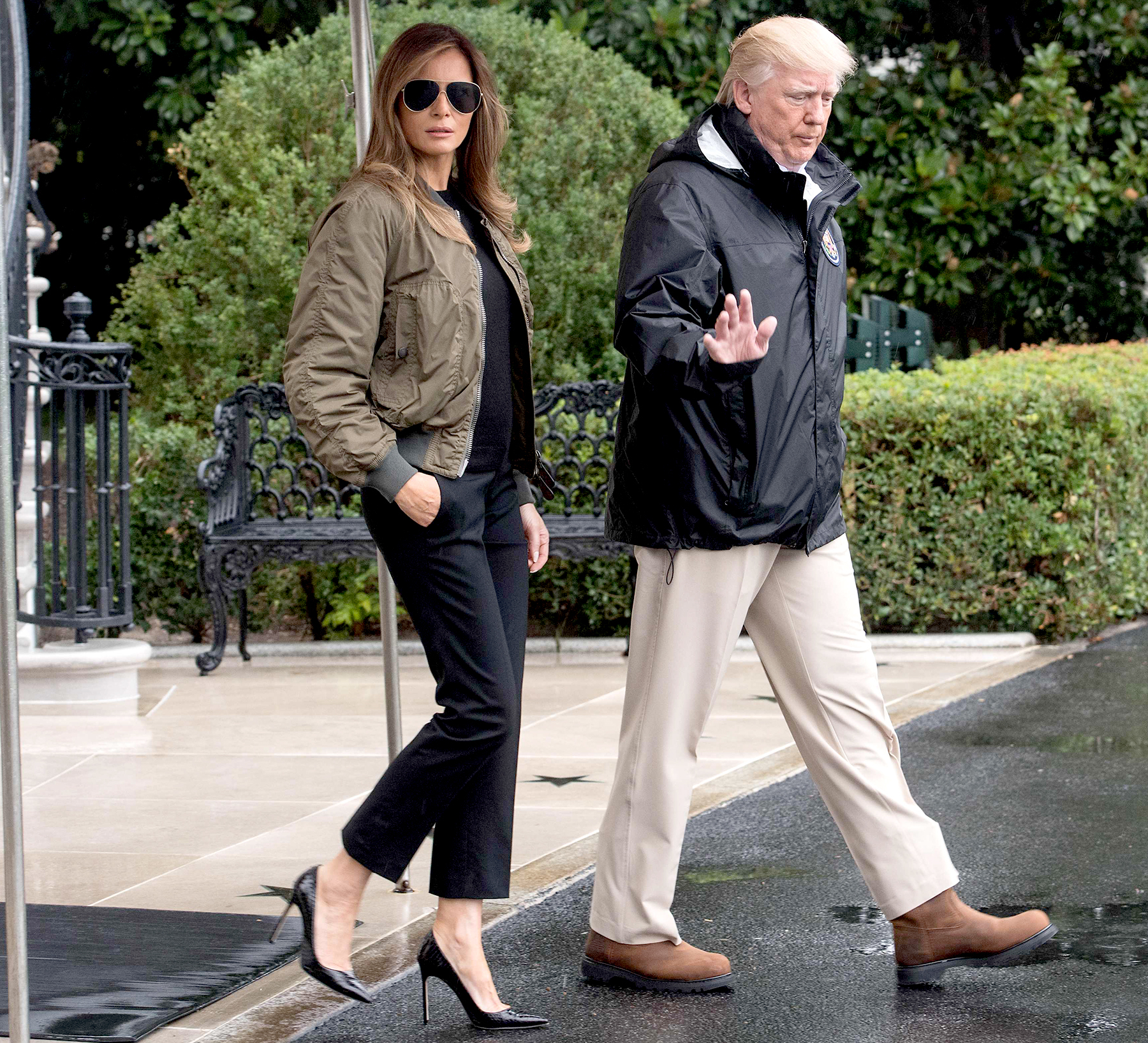 US President Donald Trump and First Lady Melania Trump depart the White House in Washington, DC, on August 29, 2017 for Texas to view the damage caused by Hurricane Harvey.