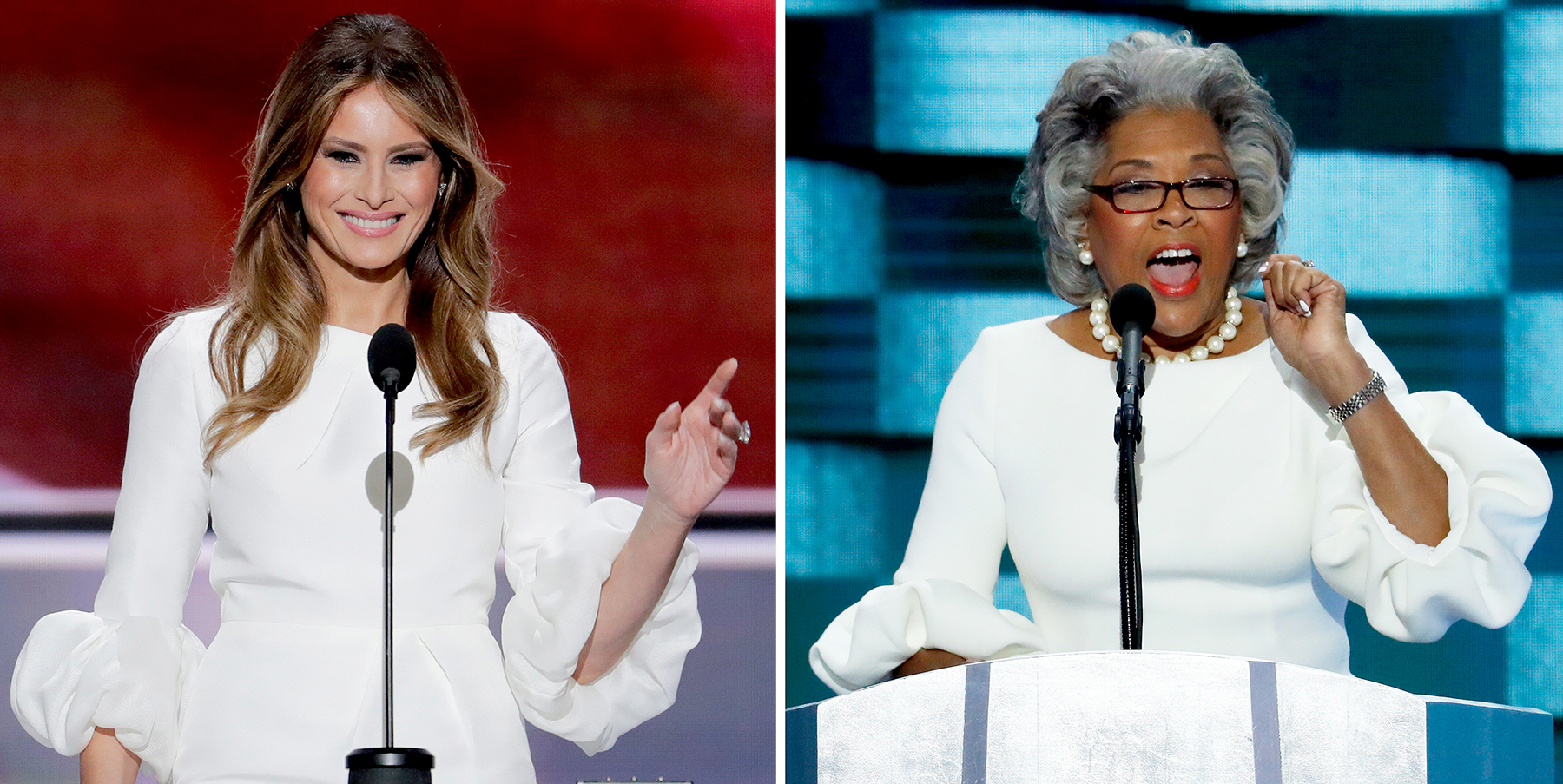 Melania Trump speaks at the Republican National Convention in Cleveland, and U.S. Rep. Joyce Beatty, right, speaks at the Democratic National Convention in Philadelphia.