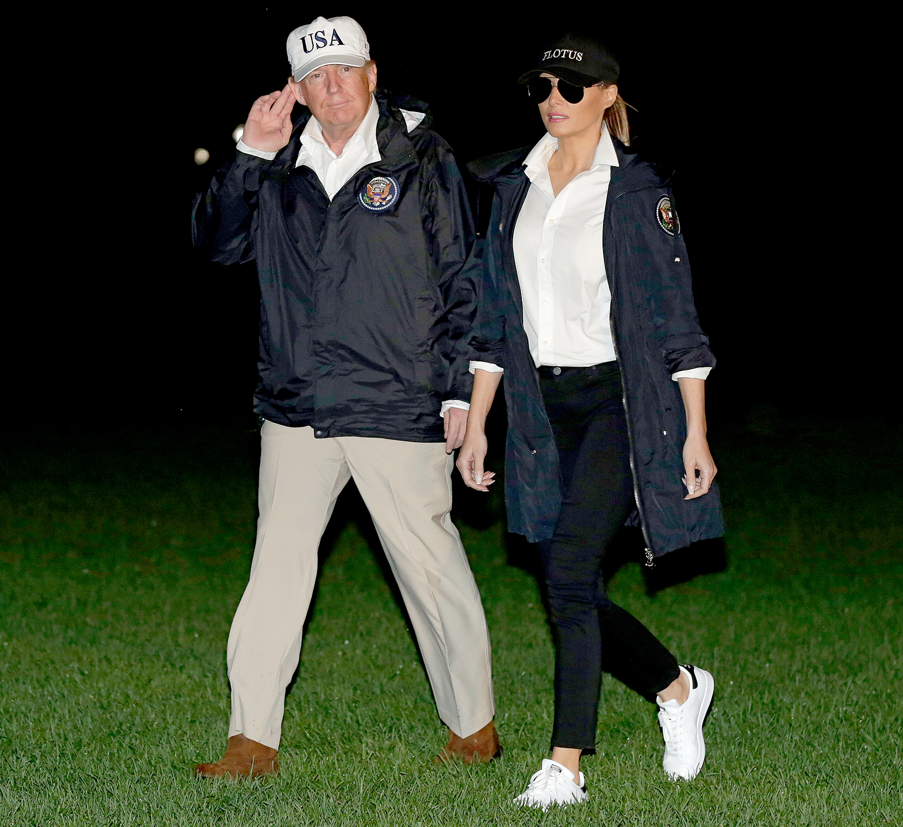 US President Donald Trump and First Lady Melania Trump return to the White House in Washington, DC, from Texas after viewing the damage caused by Hurricane Harvey on August 29, 2017.