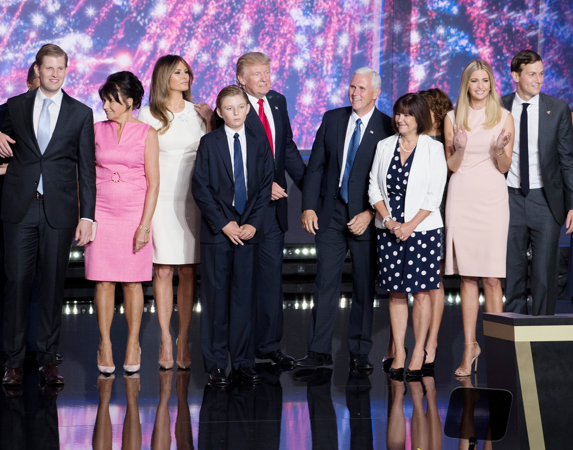 Eric Trump, Guest, Melania Trump, Barron Trump, Donald Trump, Mike Pence, Karen Pence, Ivanka Trump and Jared Kushner enjoy the fourth day of the Republican National Convention on July 21, 2016 at the Quicken Loans Arena in Cleveland, Ohio. An estimated 50,000 people are expected in Cleveland, including hundreds of protestors and members of the media. The convention runs through July 21.