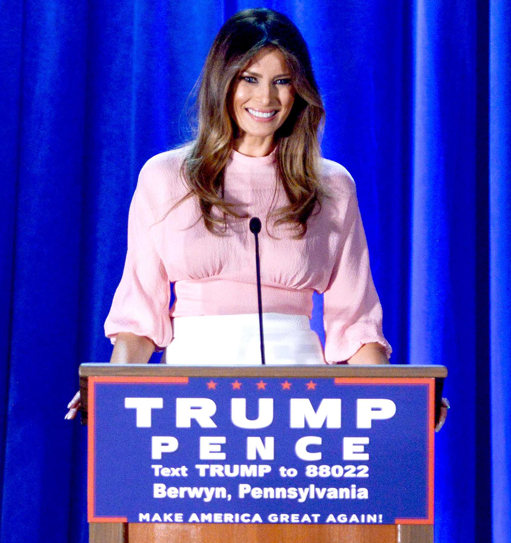 Melania Trump, wife of Republican presidential nominee Donald Trump, speaks at a rally for Donald Trump at the Main Line Sports Center on Nov. 3, 2016, in Berwyn, PA.