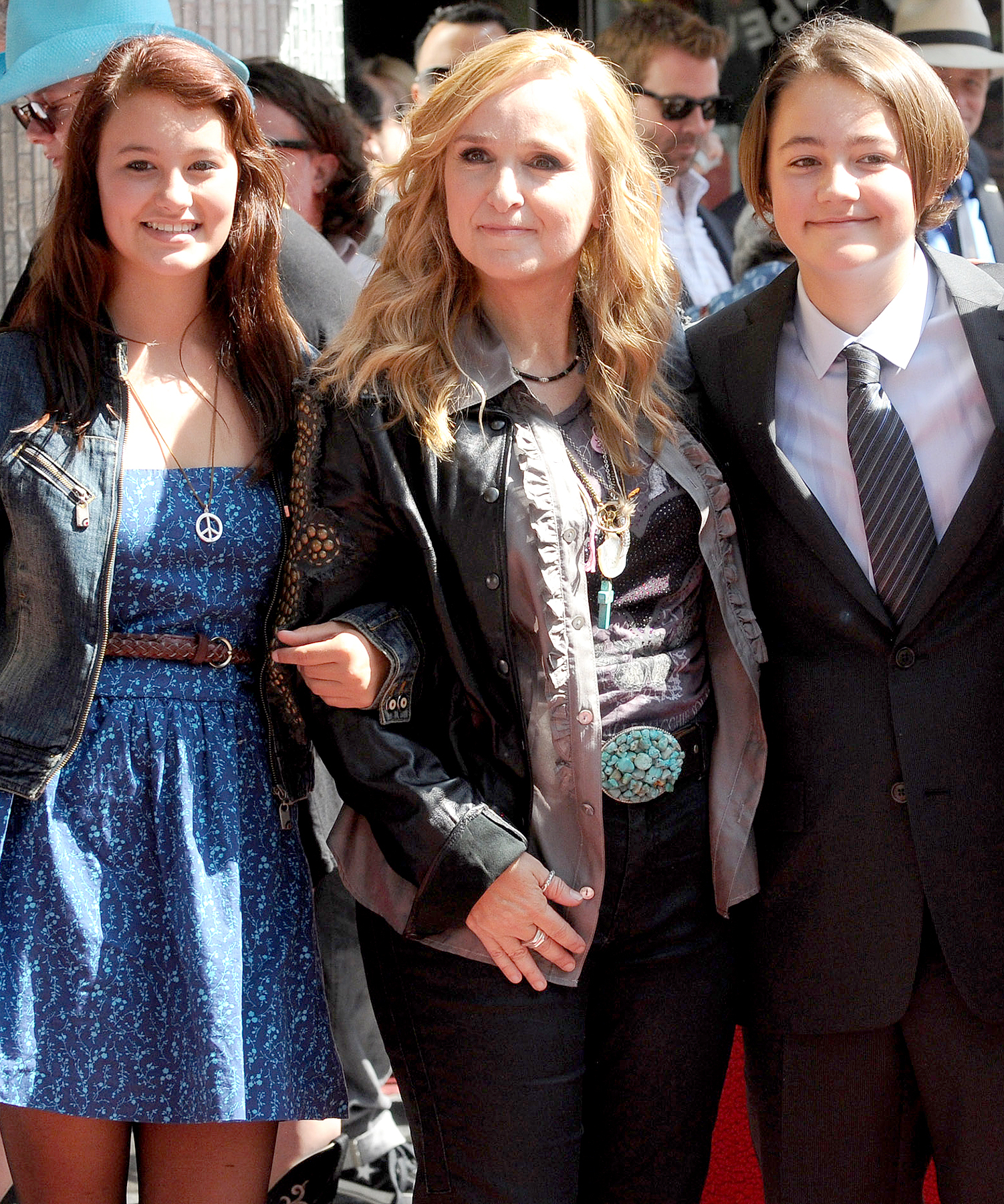 Melissa Etheridge, Bailey Jean Cypher and Beckett Cypher attend Etheridge's Hollywood Walk of Fame Induction Ceremony in Hollywood on September 27, 2011.
