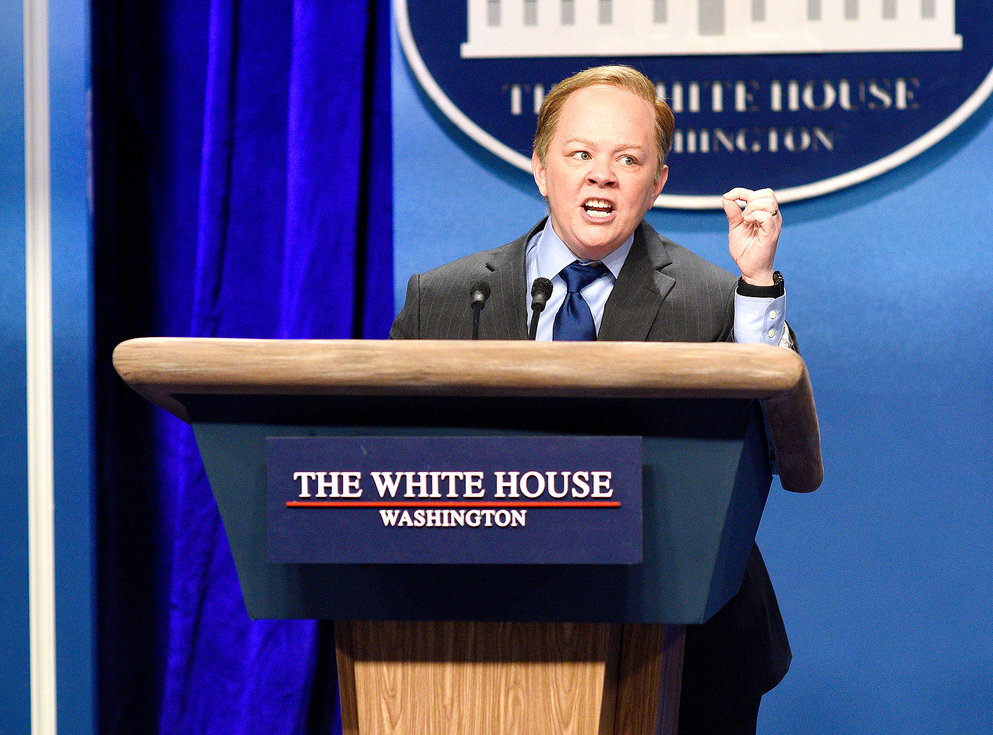 Melissa McCarthy as Press Secretary Sean Spicer during the