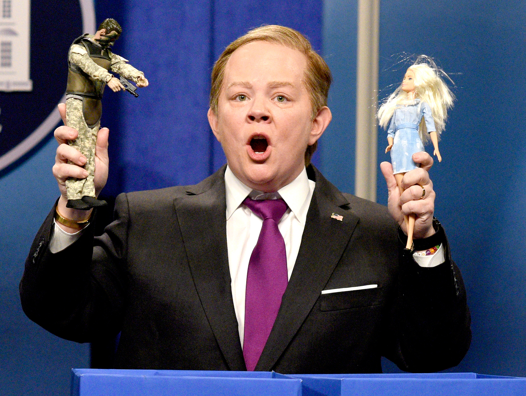"Melissa McCarthy as Press Secretary Sean Spicer during the ""Sean Spicer Press Conference Cold Open"" on February 11, 2017."