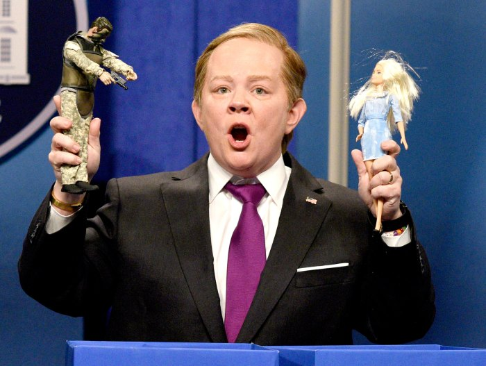 """Melissa McCarthy as Press Secretary Sean Spicer during the """"Sean Spicer Press Conference Cold Open"""" on February 11, 2017."""