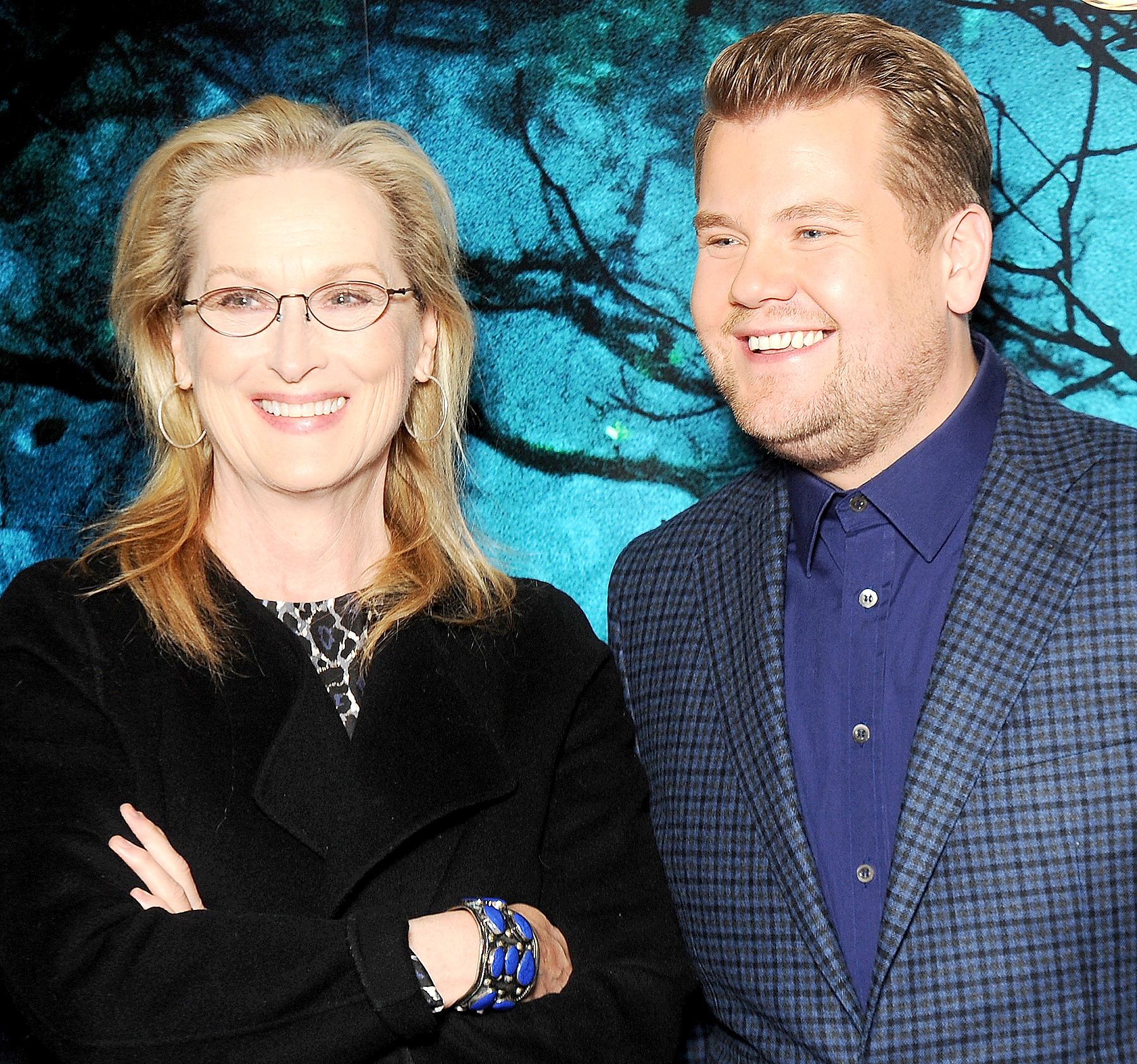 """Meryl Streep and James Corden attend a photocall for """"Into the Woods"""" at Corinthia Hotel London on January 7, 2015 in London, England."""