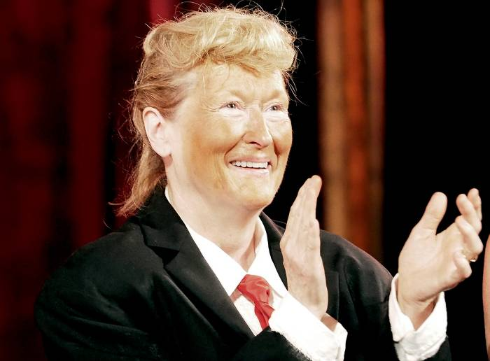 Meryl Streep, dressed as Donald Trump, performs onstage at the 2016 Public Theater Gala at Delacorte Theater on June 6, 2016 in New York City.