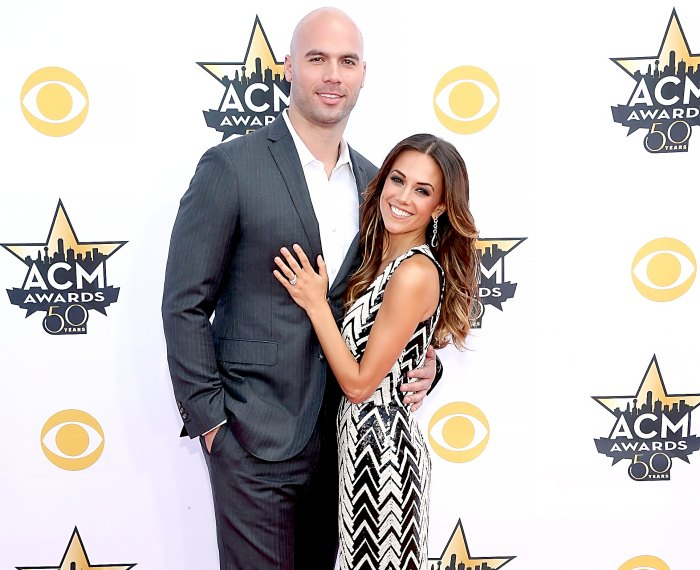 Michael Caussin and Jana Kramer attend the 50th Academy Of Country Music Awards at AT&T Stadium on April 19, 2015 in Arlington, Texas.