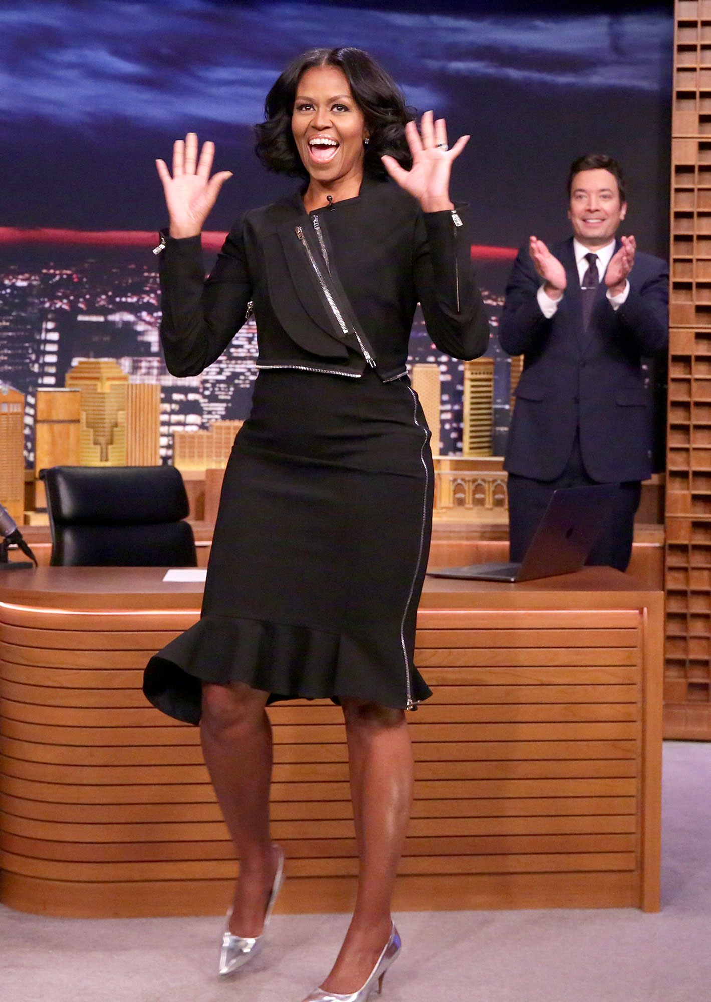 First Lady Michelle Obama arrives to an interview with host Jimmy Fallon on January 11, 2017