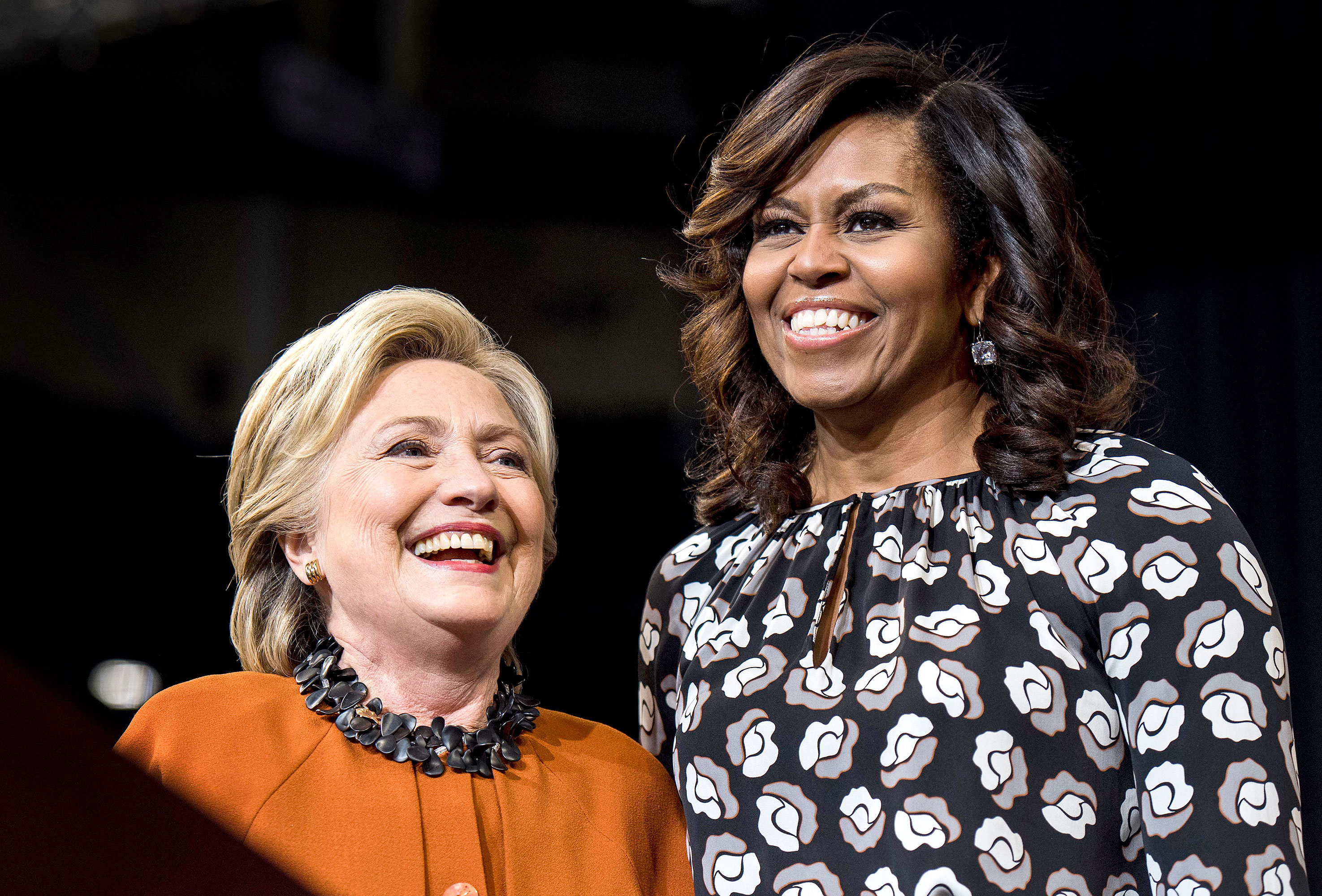 Hillary Clinton campaigns in North Carolina with First Lady Michelle Obama in Winston-Salem, North Carolina Thursday October 27, 2016.