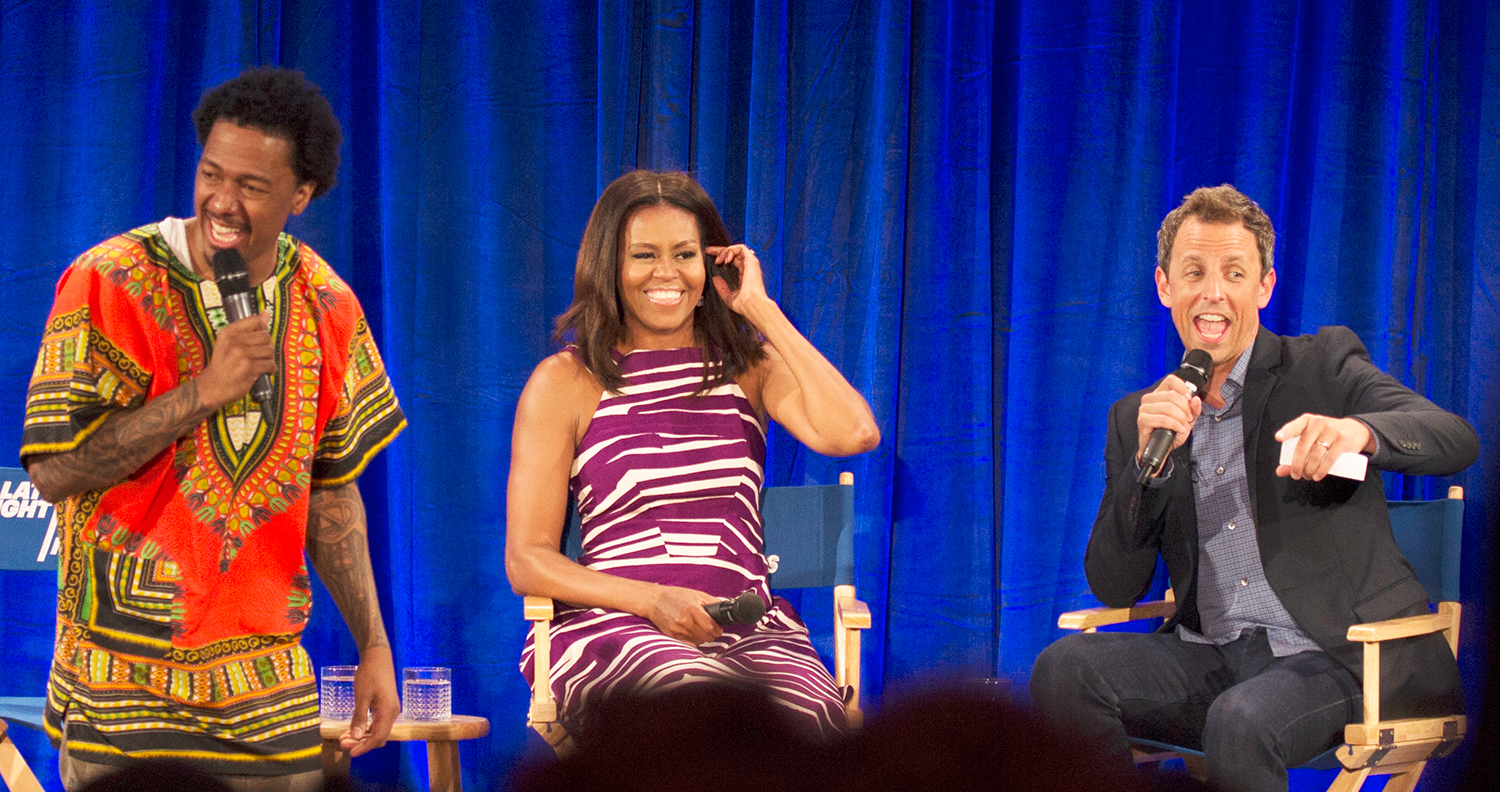 Michelle Obama, Seth Meyers and Nick Cannon