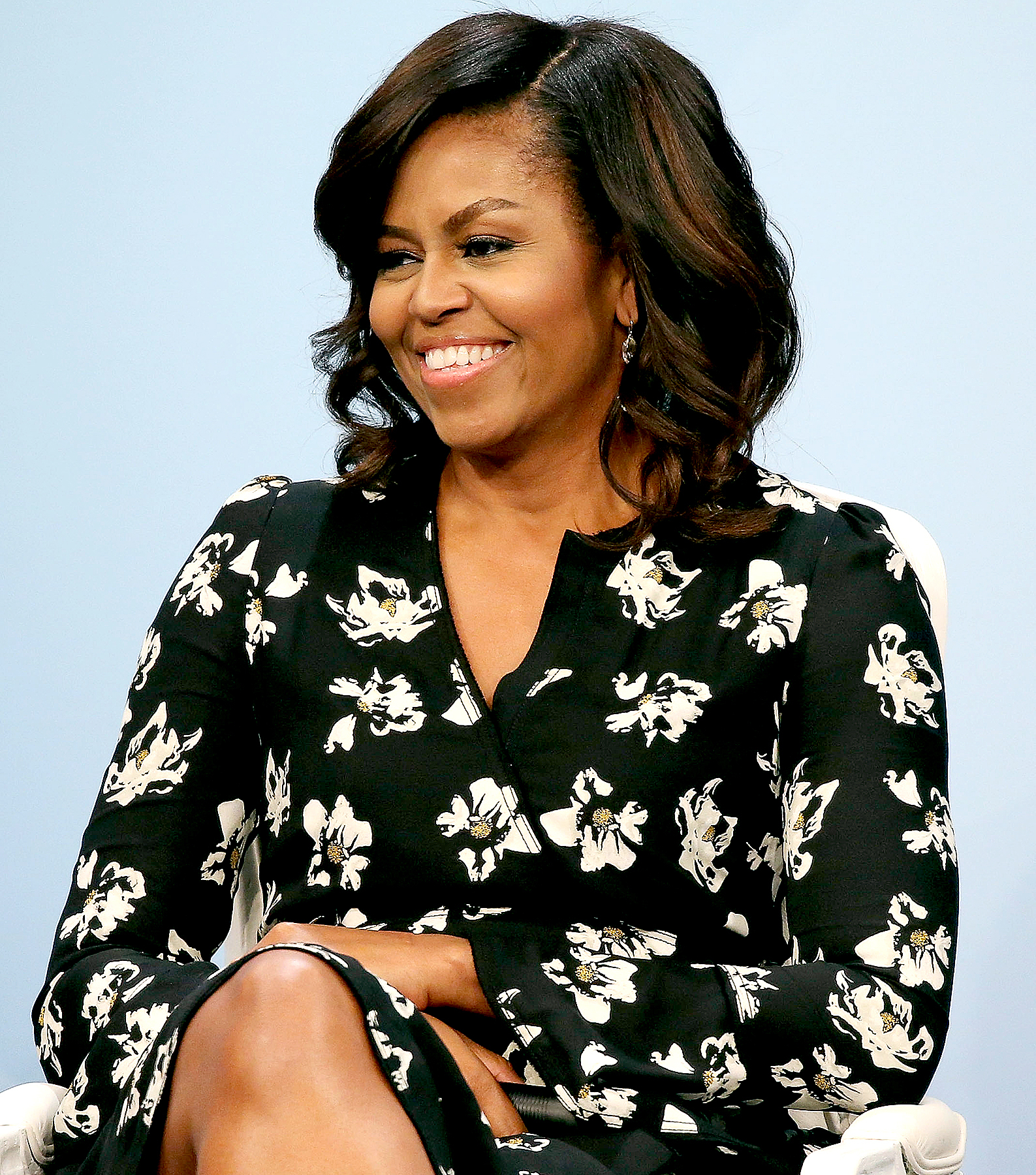 "Michelle Obama participates in a panel discussion at Glamour Hosts ""A Brighter Future: A Global Conversation on Girls' Education"" with First Lady Michelle Obama at The Newseum on October 11, 2016 in Washington, DC."