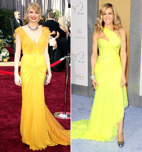 Michelle Williams and Sarah Jessica Parker - yellow dresses
