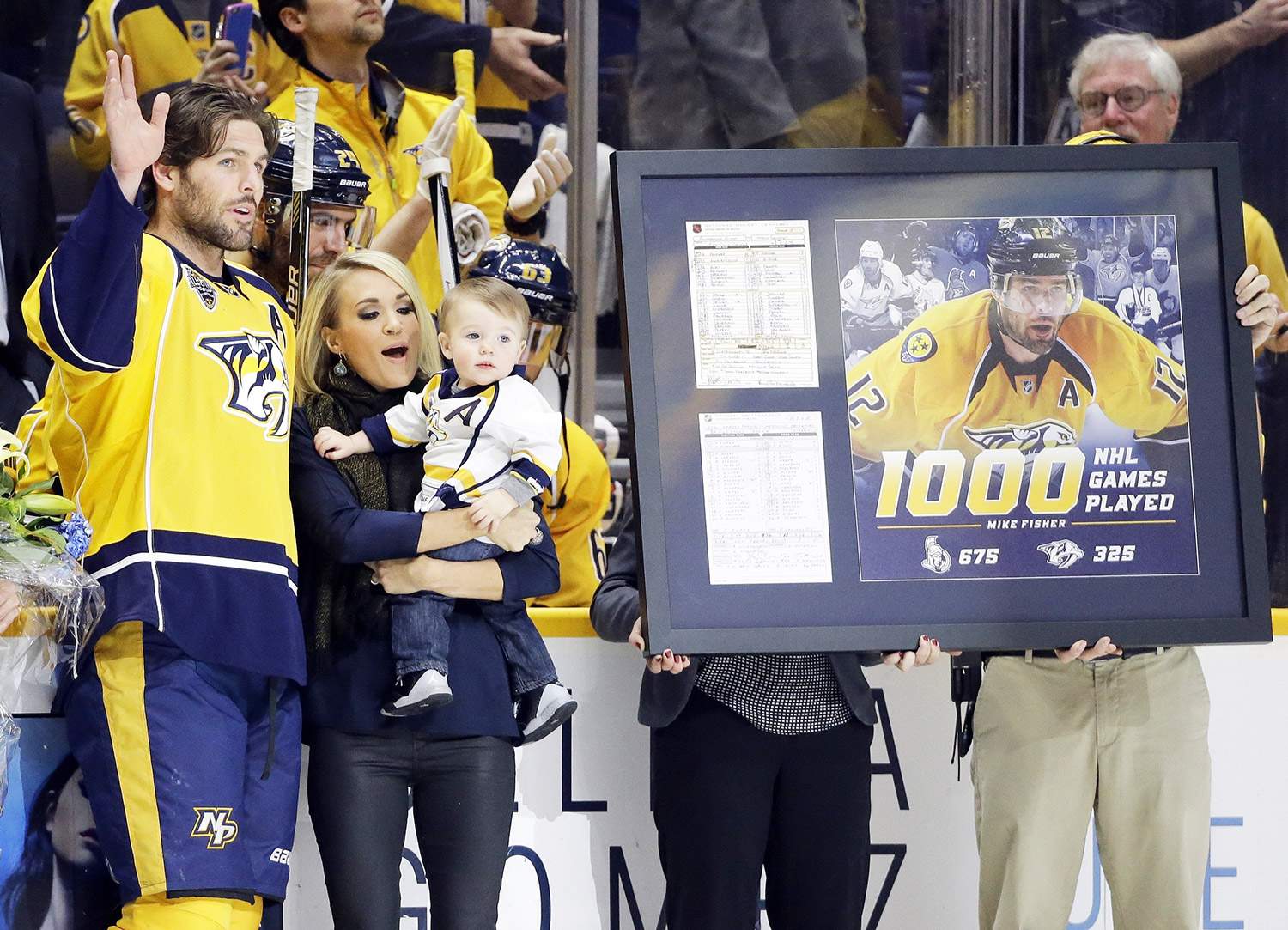 Mike Fisher, Carrie Underwood and Isaiah Fisher