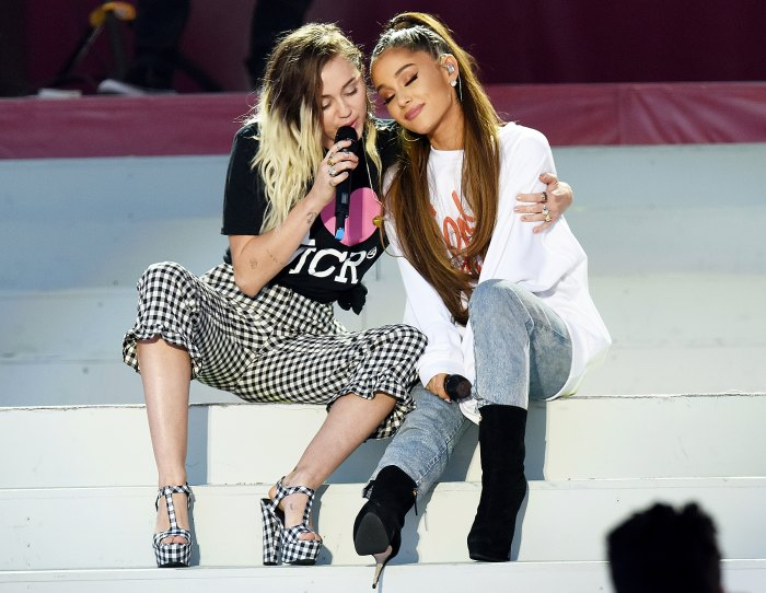 Ariana Grande Miley Cyrus Duet On Don T Dream It S Over In Manchester