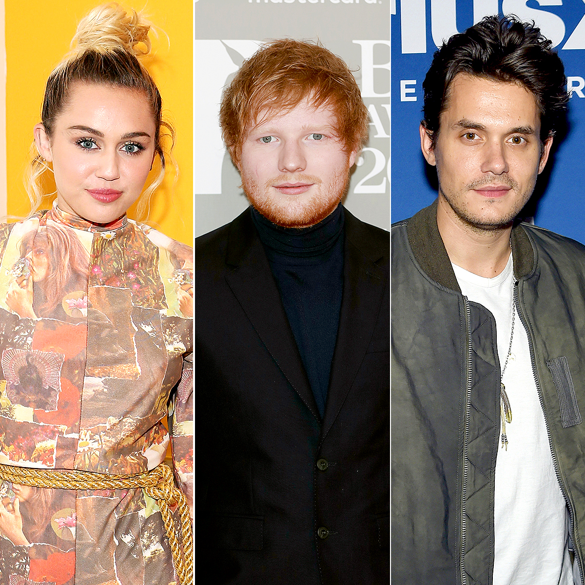 Miley Cyrus, Ed Sheeran, and John Mayer