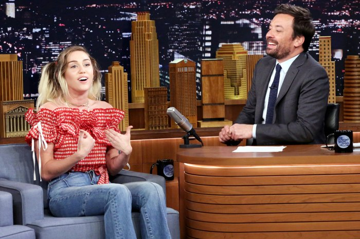 Miley Cyrus with Jimmy Fallon during an interview on June 14, 2017