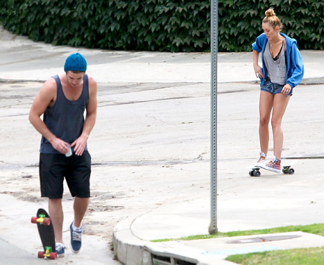 miley cyrus and liam skateboarding