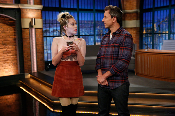 Miley Cyrus and Seth Meyers