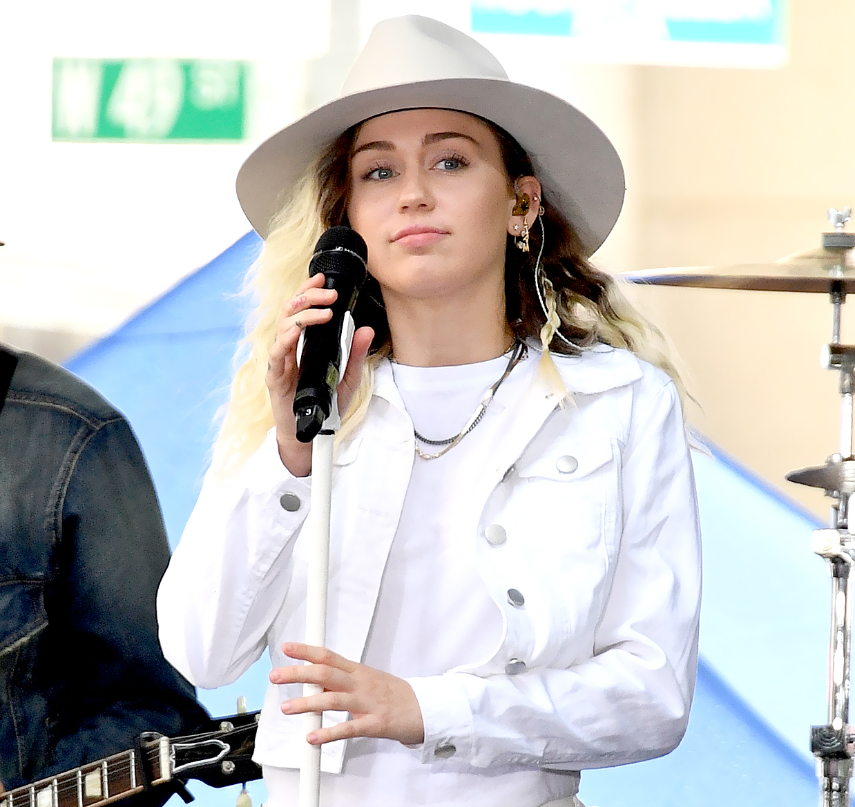 """Miley Cyrus performs on NBC's """"Today"""" at Rockefeller Plaza on May 26, 2017 in New York City."""