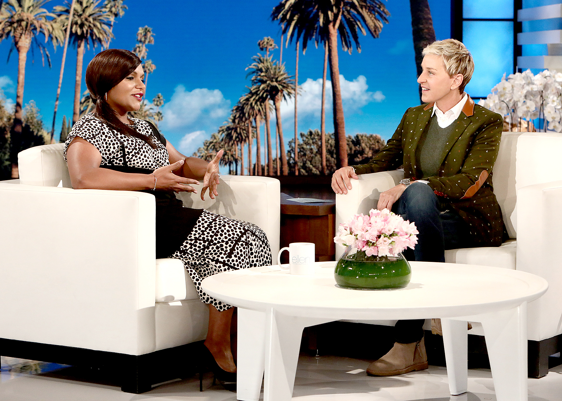 Mindy Kaling and Ellen DeGeneres