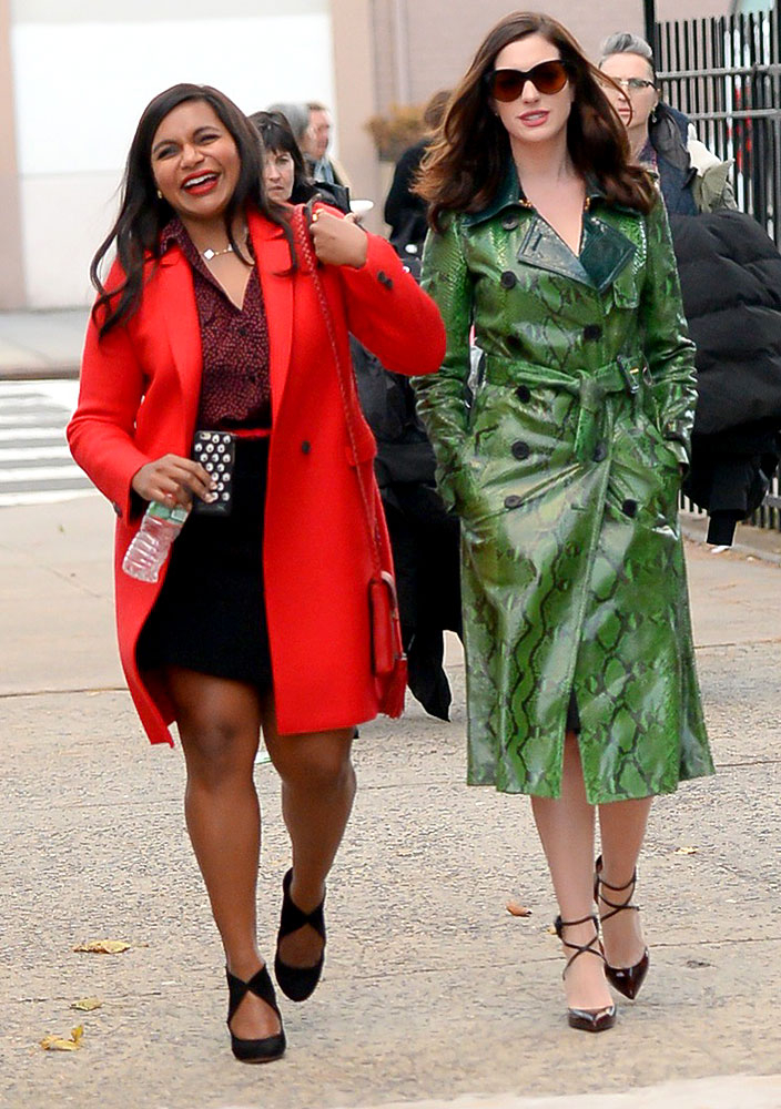 Anne Hathaway and Mindy Kaling are seen set of Ocean's Eight in Brooklyn on December 3, 2016 in New York City.