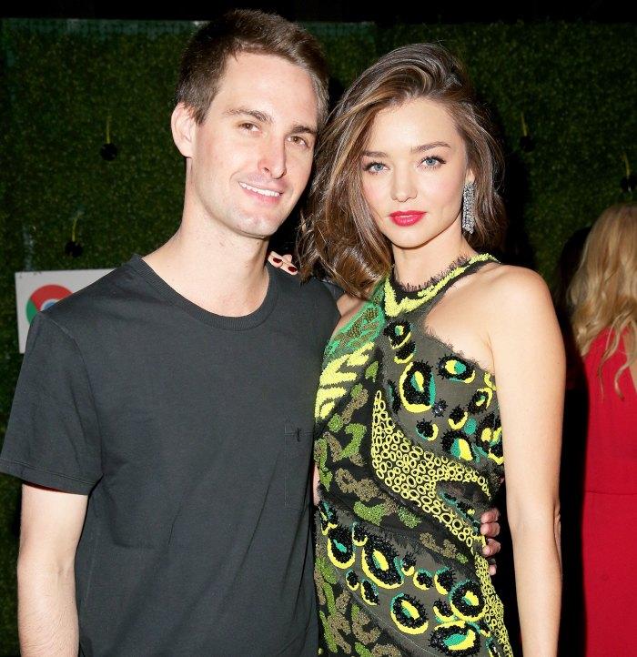 Evan Spiegel and Model Miranda Kerr attend the Republic Records Grammy Celebration on February 15, 2016 in Los Angeles, California.