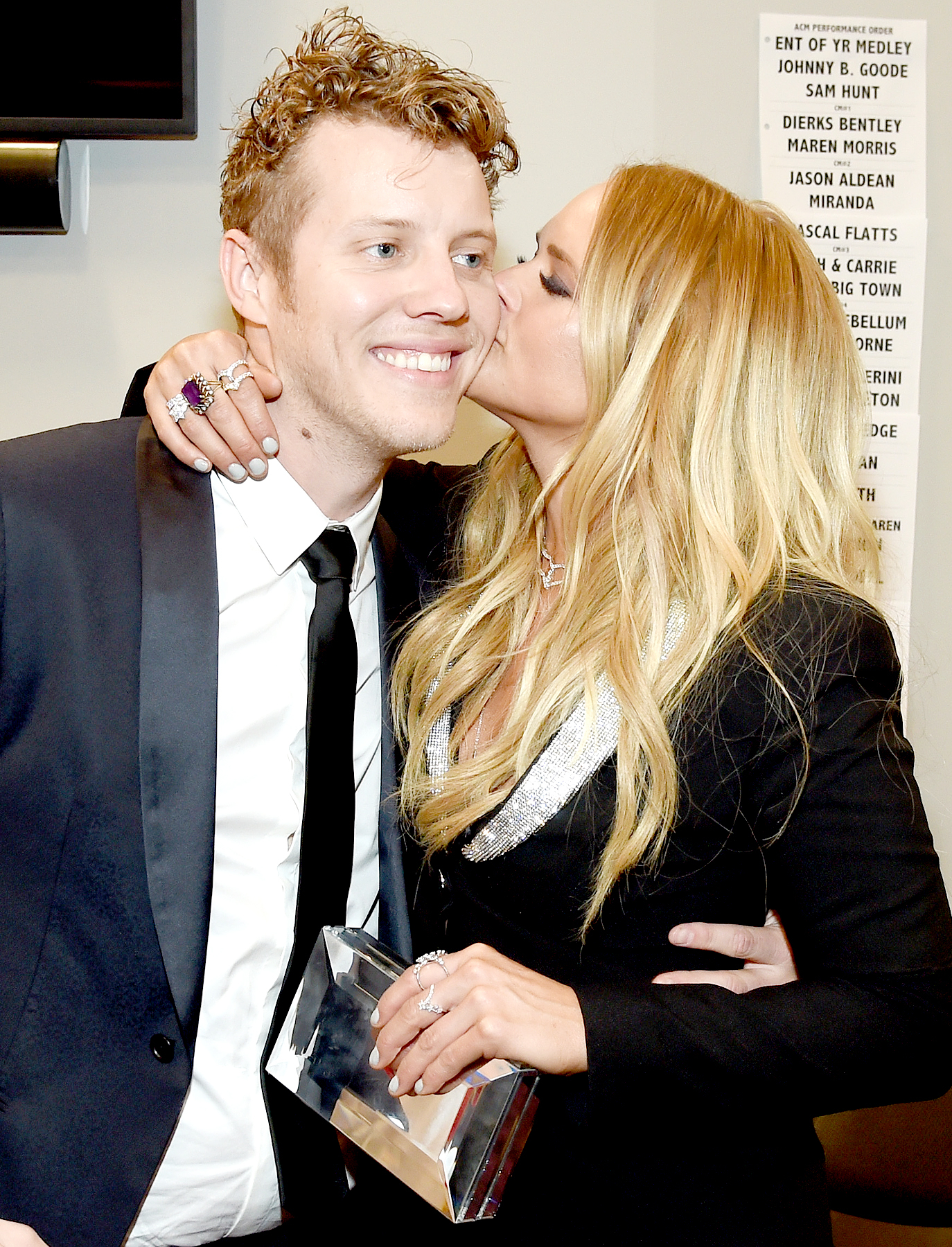 Anderson East and Miranda Lambert backstage during the 52nd Academy Of Country Music Awards at T-Mobile Arena on April 2, 2017 in Las Vegas, Nevada.