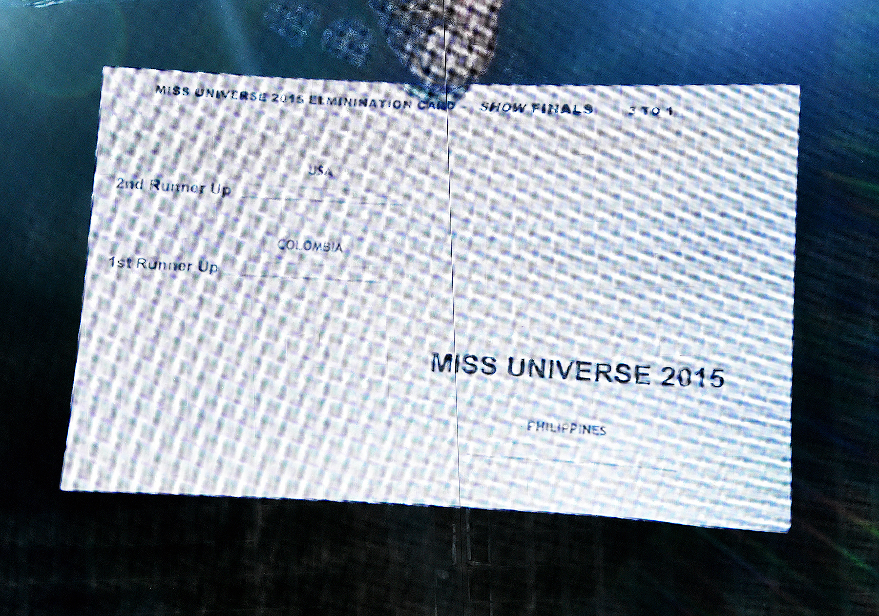 The card showing the order of the top three finalists in the 2015 Miss Universe Pageant