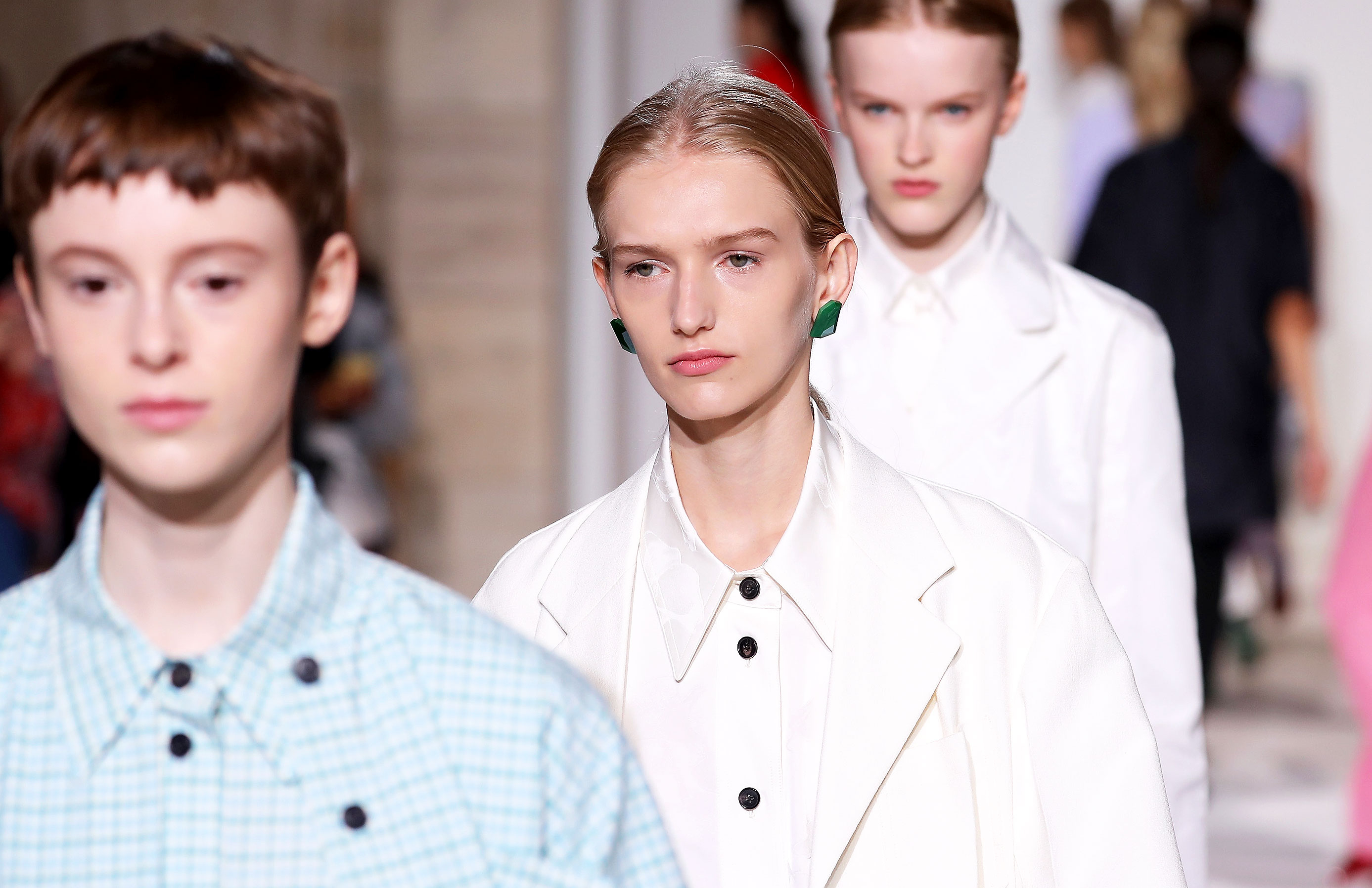 Models walk the runway for Victoria Beckham