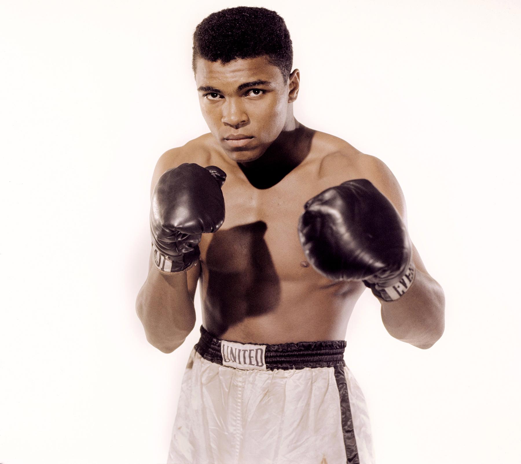 Muhammad Ali poses for the camera on May 17, 1962, in Long Island, NY.