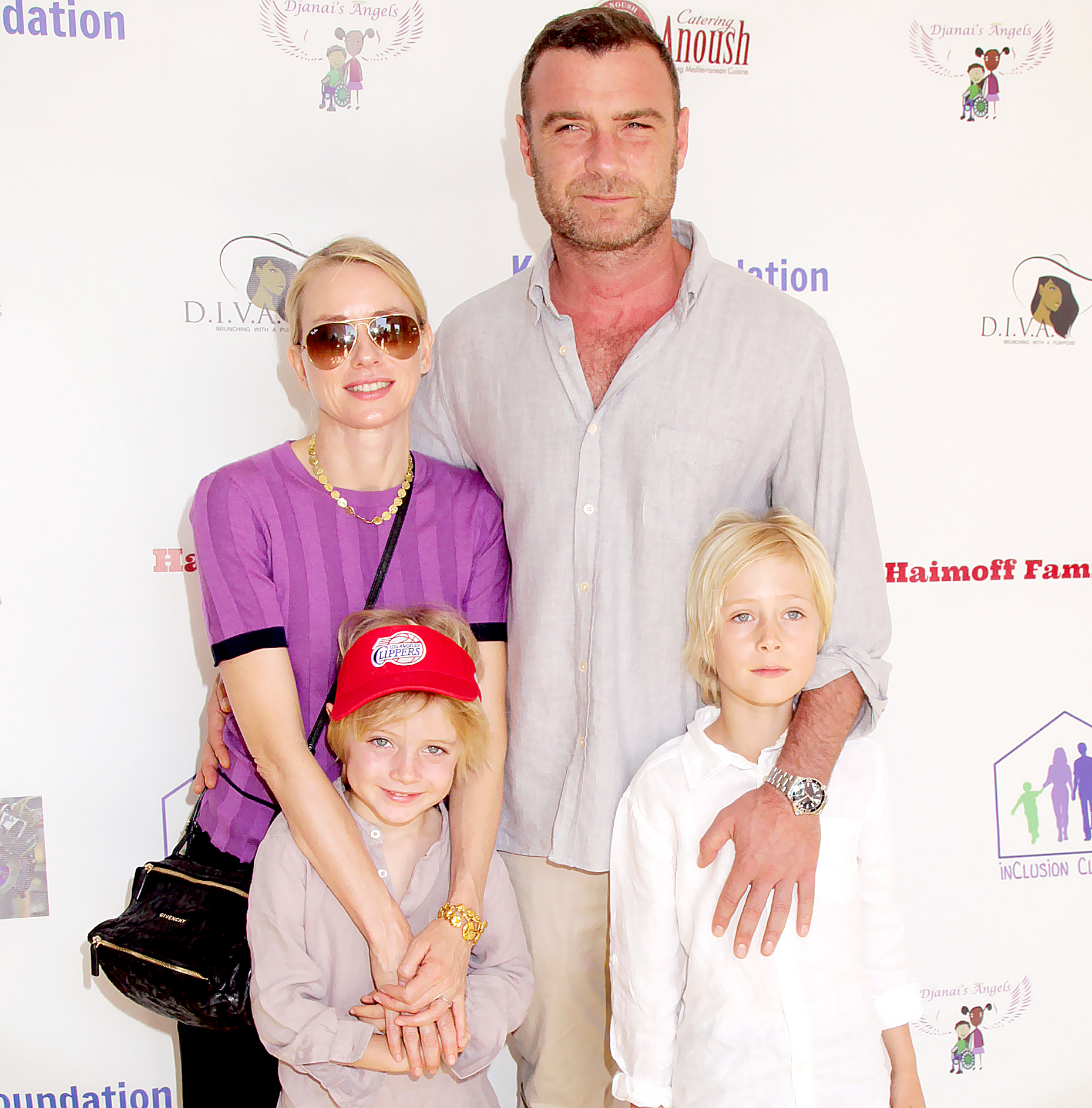 "Naomi Watts and Liev Schreiber with their sons Samuel Kai Schreiber and Alexander Pete Schreiber attend Djanai's Angels Special Needs Family Prom supporting inCLUSION Clubhouse with the cast of ""Ray Donovan"" at Le Foyer Ballroom on March 28, 2015 in North Hollywood, California."