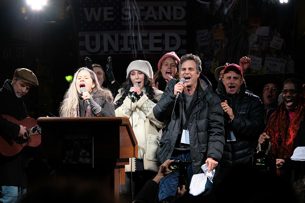 Cher and Mark Ruffalo and anti-Trump rally in NYC