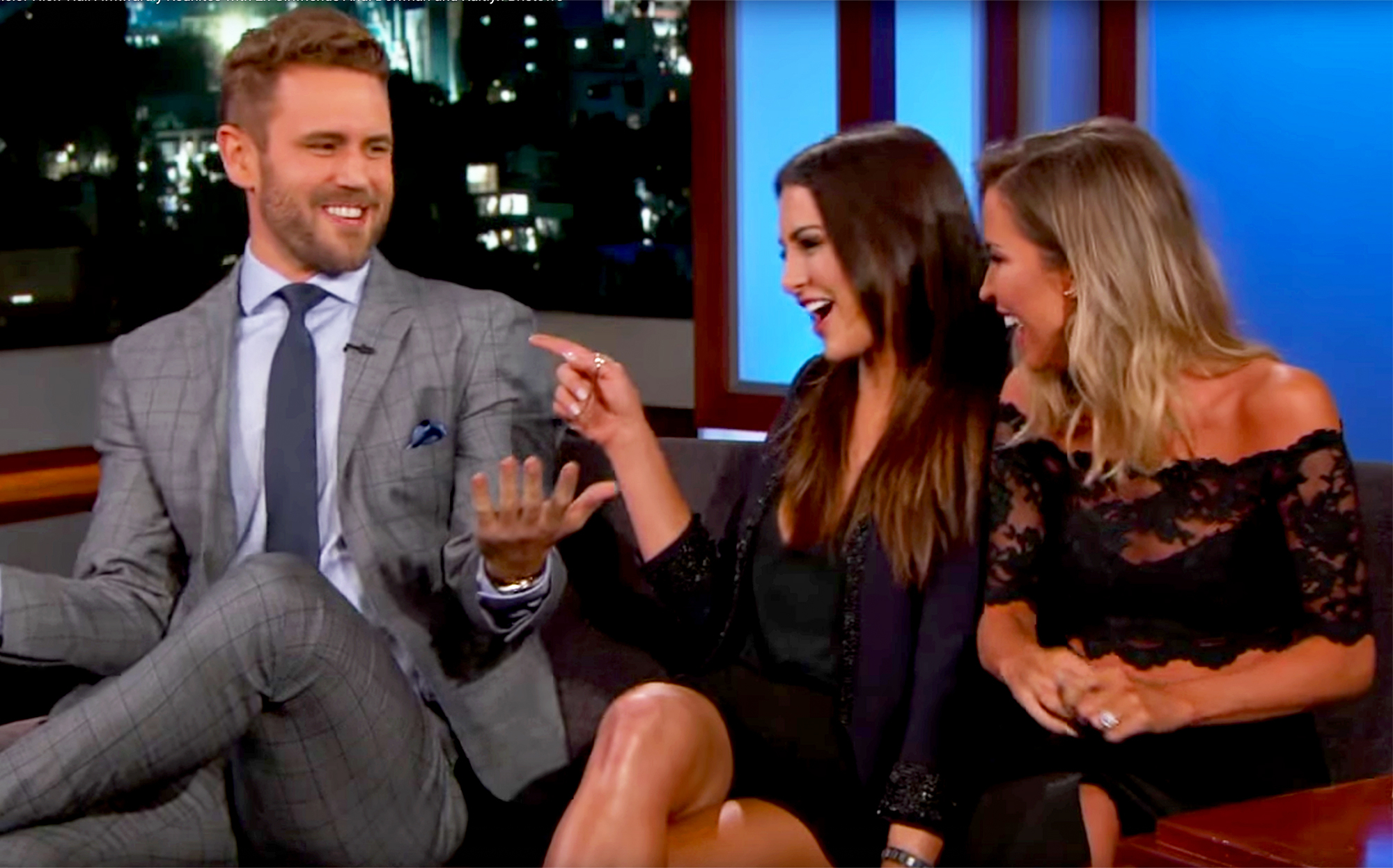 Nick Viall With Andi Dorfman And Kaitlyn Bristowe On Jimmy Kimmel Live