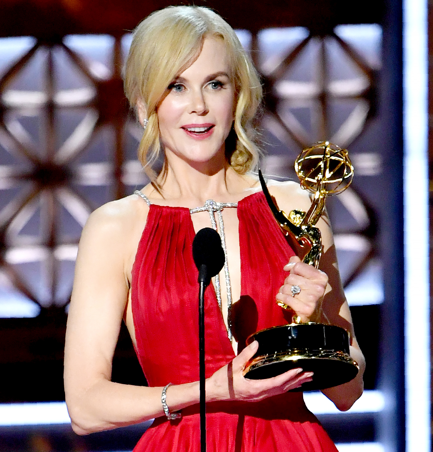 """ptember 17, 2017 in Los Angeles, California. / ANicole Kidman accepts the award for Outstanding Lead Actress in a Limited Series or Movie for """"Big Little Lies"""" onstage during the 69th Emmy Awards at the Microsoft Theatre on September 17, 2017 in Los Angeles, California."""