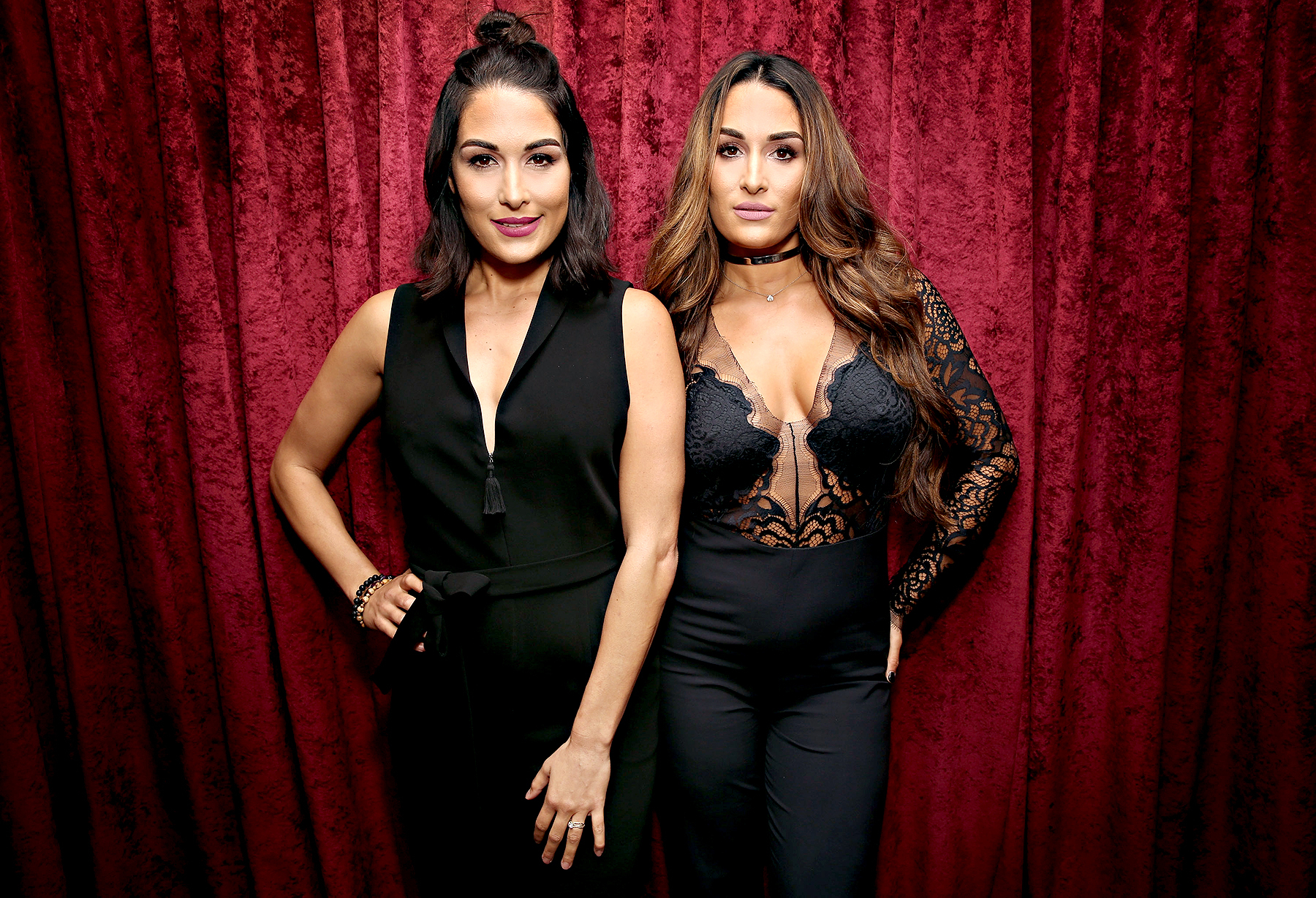 Brie Bella and Nikki Bella visits the SiriusXM Studios on September 29, 2016 in New York City.