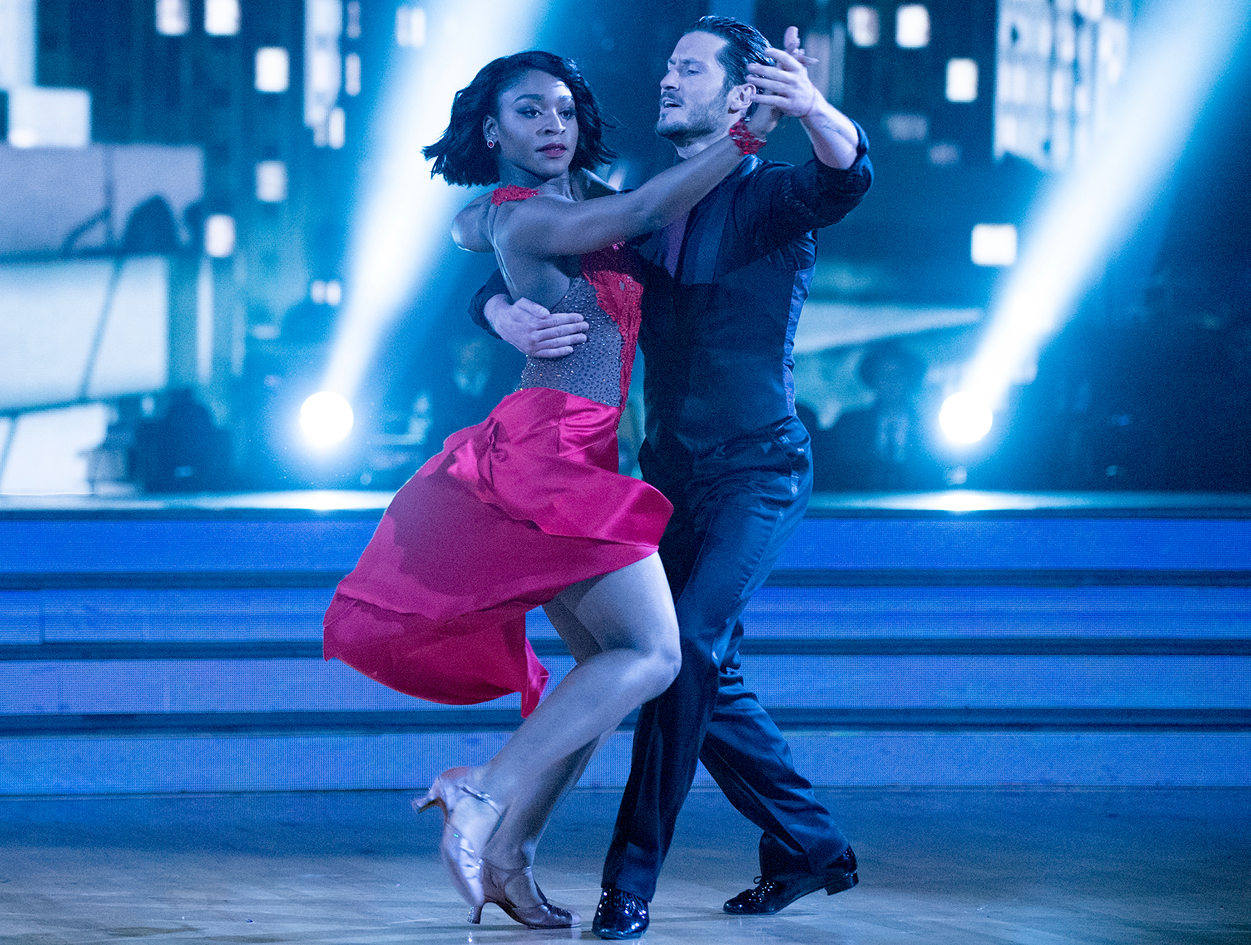 Normani Kordei and Val Chmerkovskiy on Dancing with the Stars