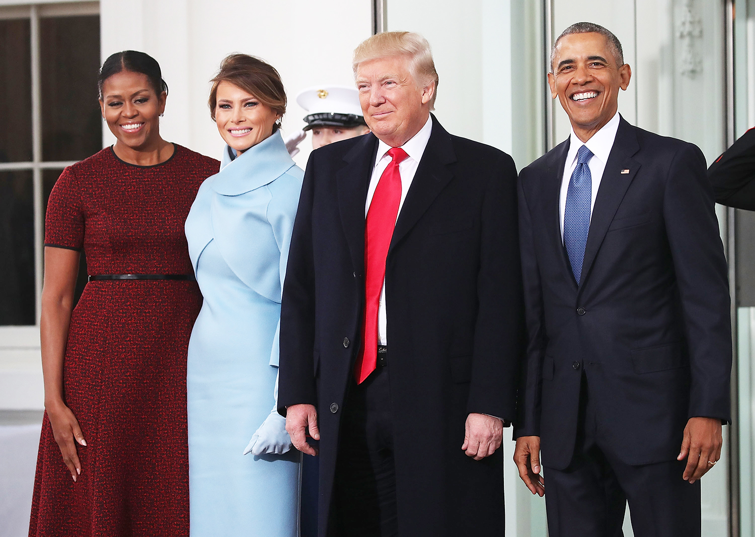 Donald Trump,and Melania Trump, are greeted by President Barack Obama and first lady Michelle Obama, upon arriving at the White House on January 20, 2017 in Washington, DC.