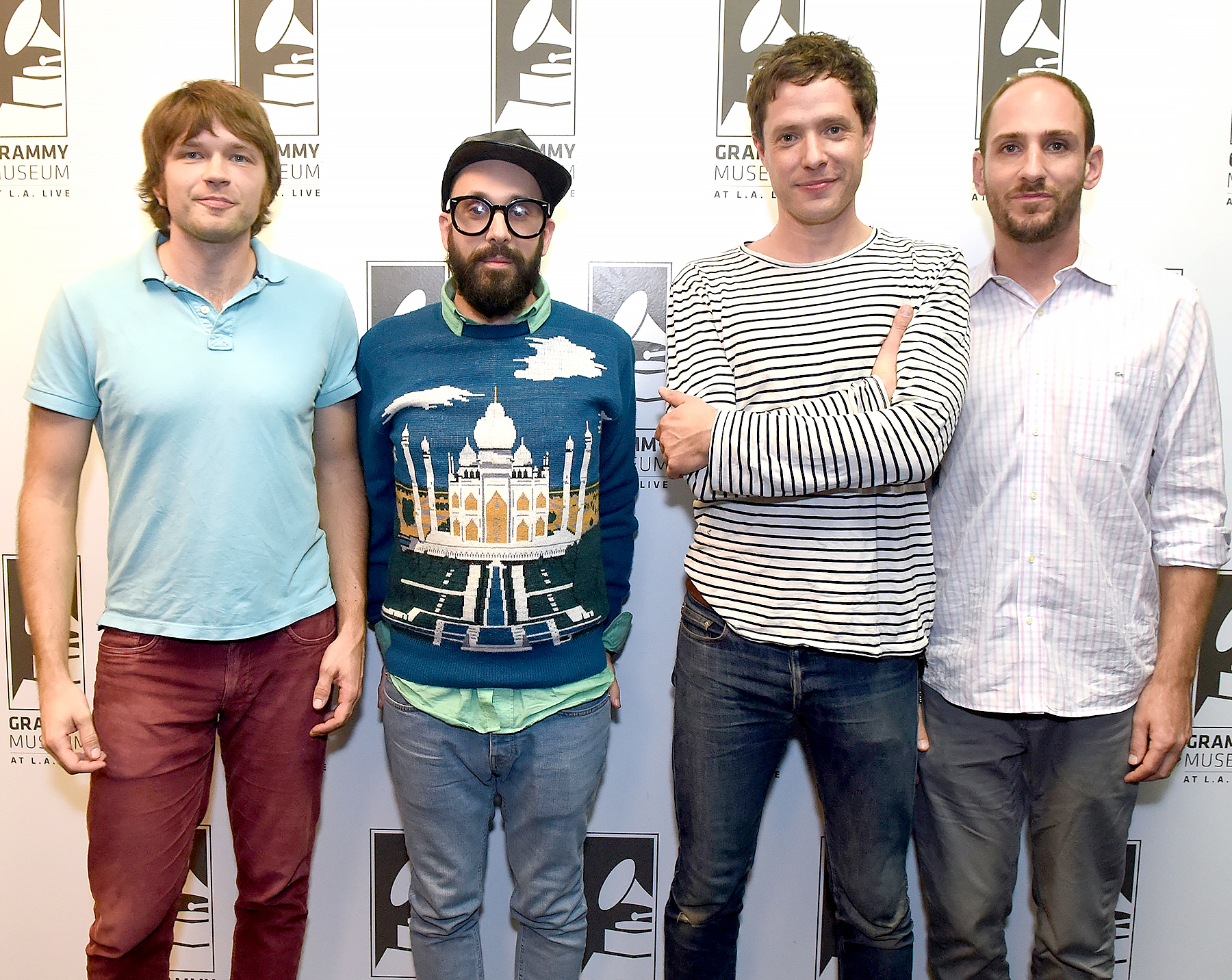 Musicians Andy Ross, Tim Nordwind, Damian Kulash and Dan Konopka at The Drop: OK Go at The GRAMMY Museum on October 29, 2014 in Los Angeles, California.