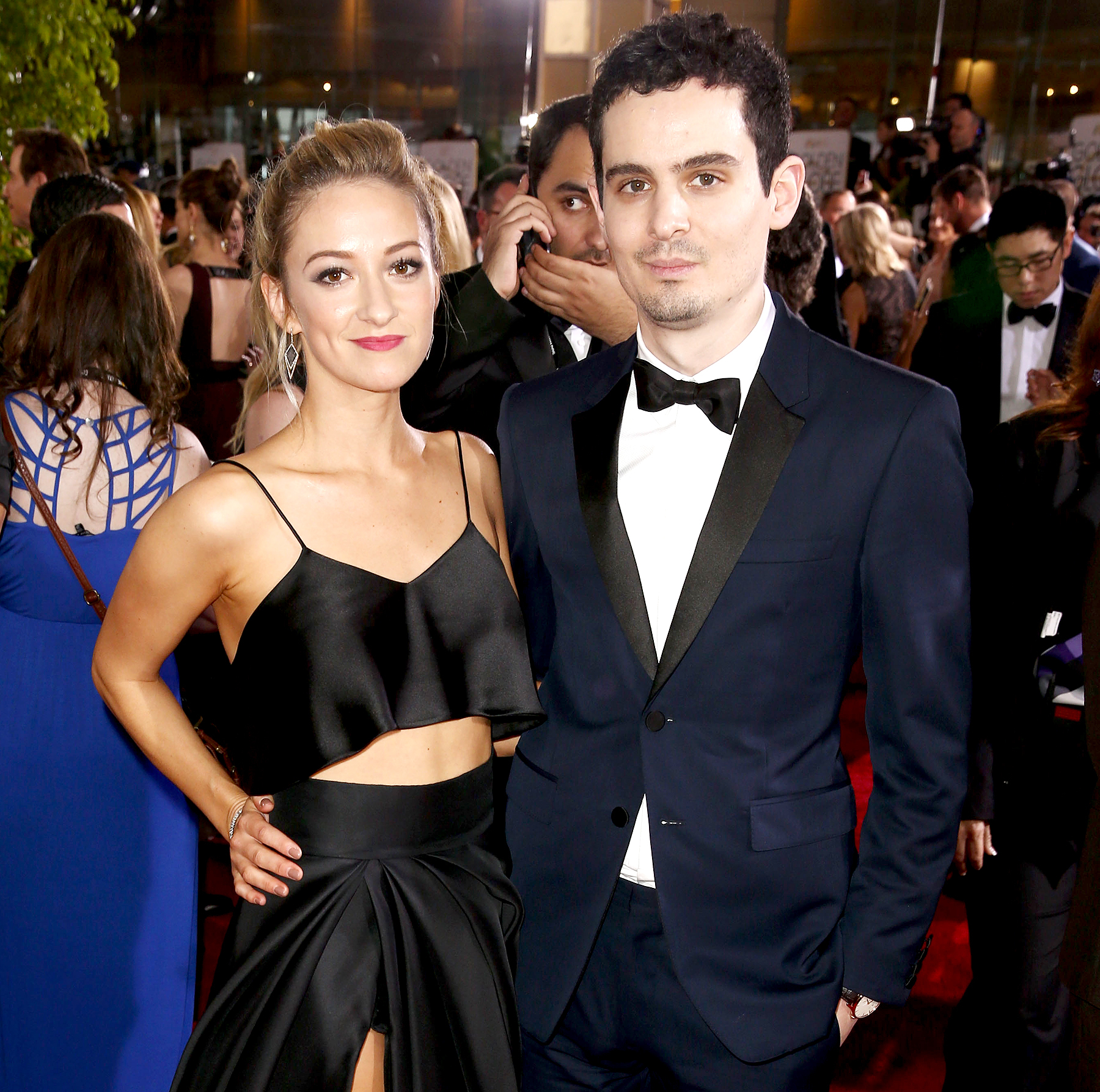 Olivia Hamilton and Damien Chazelle attend the 74th Annual Golden Globe Awards at the Beverly Hilton Hotel on Jan. 8, 2017, in Beverly Hills.